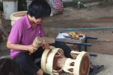 Elephant Wood Carving Artisan