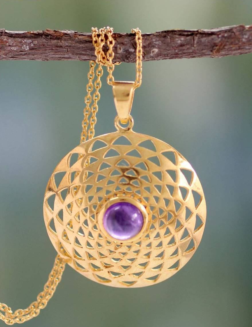 Jaipur Sun 22k Gold Vermeil and Amethyst Necklace India Bollywood Jewelry