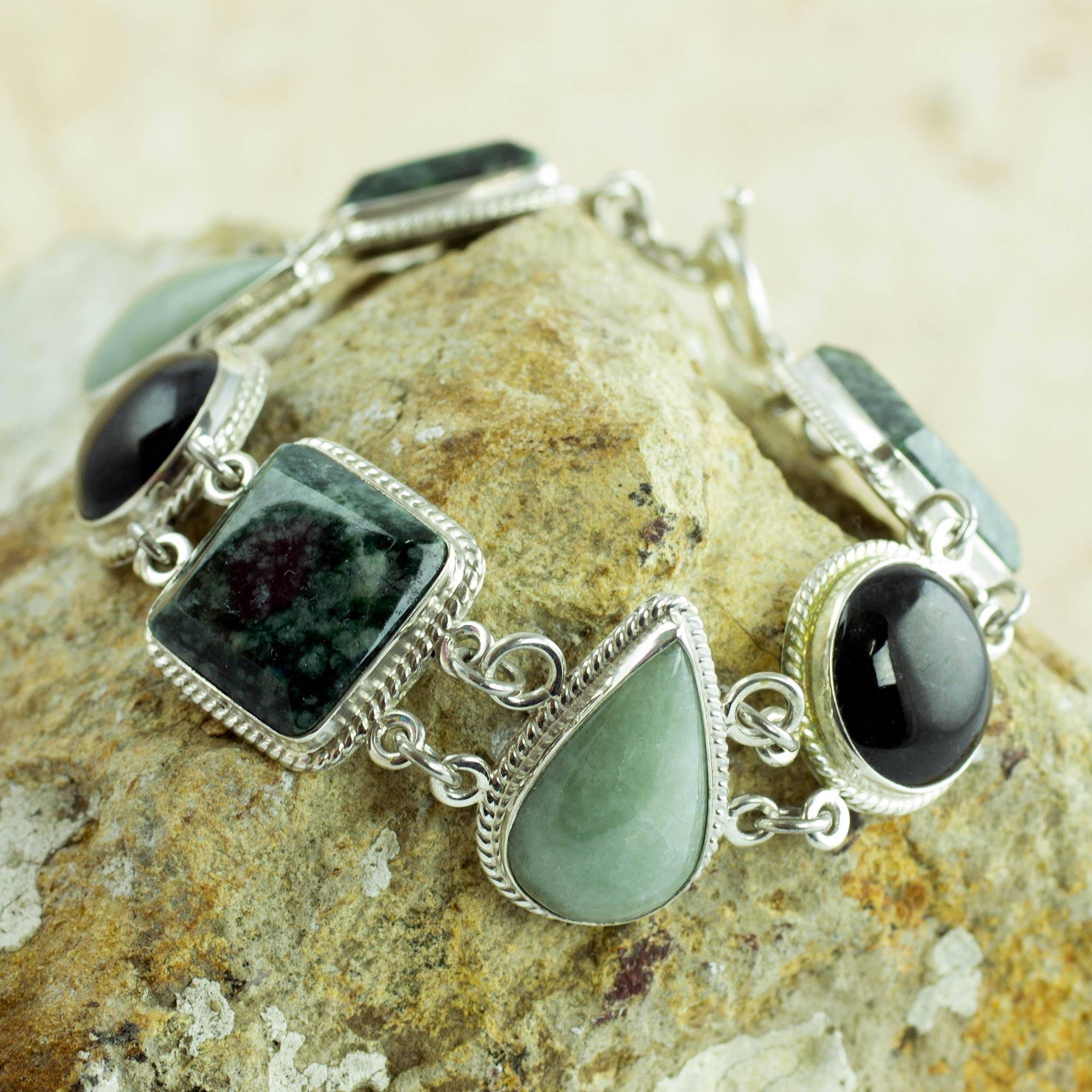 'Natural Geometry' Green and Black Jade on Sterling Silver Bracelet