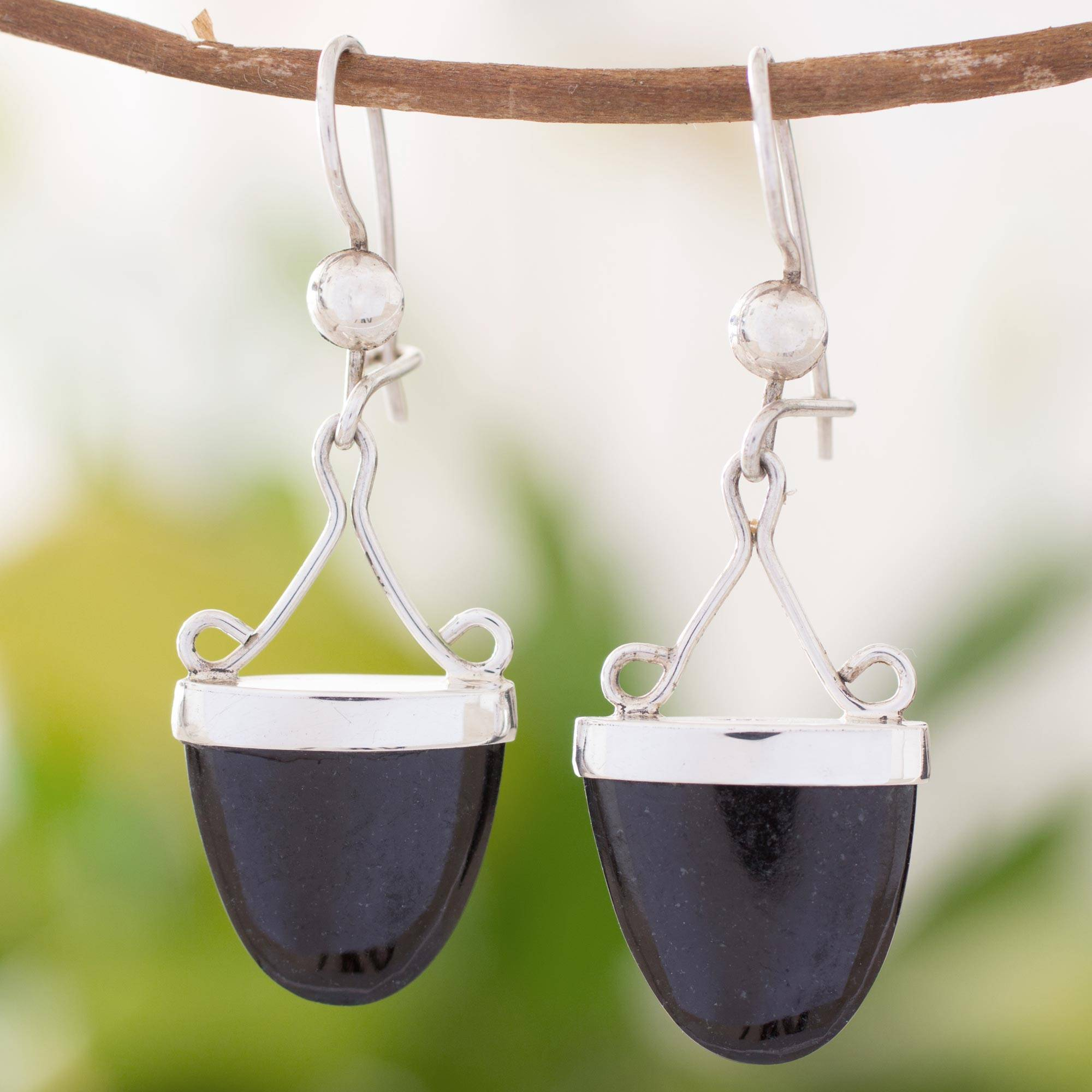 'Power of Life' Artisan Crafted Black Jade and Sterling Silver Earrings