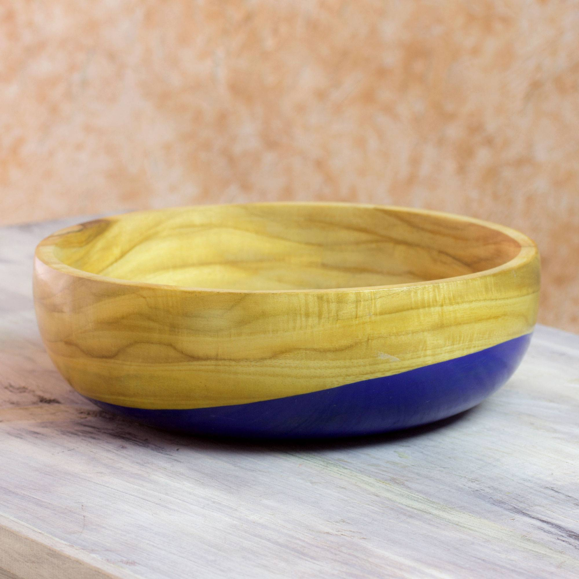 Spicy Blue Dip Painted Hand Carved Wood Bowl