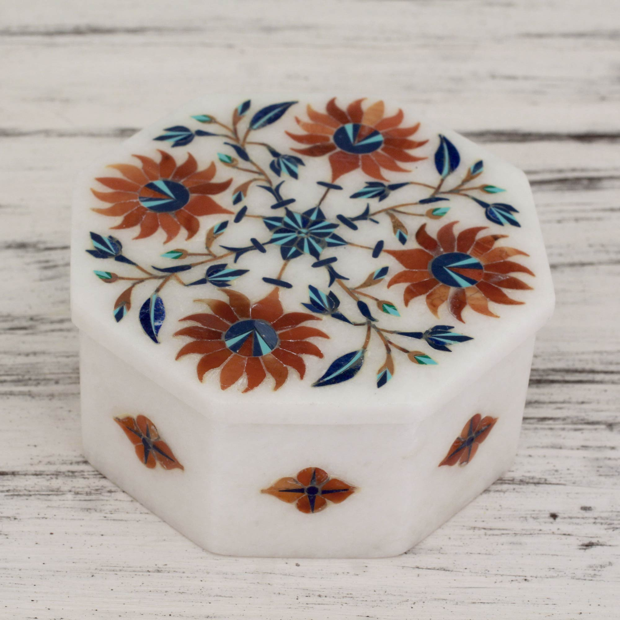 Sunflower Compass Floral Marble Jewelry Box from India Elegant home