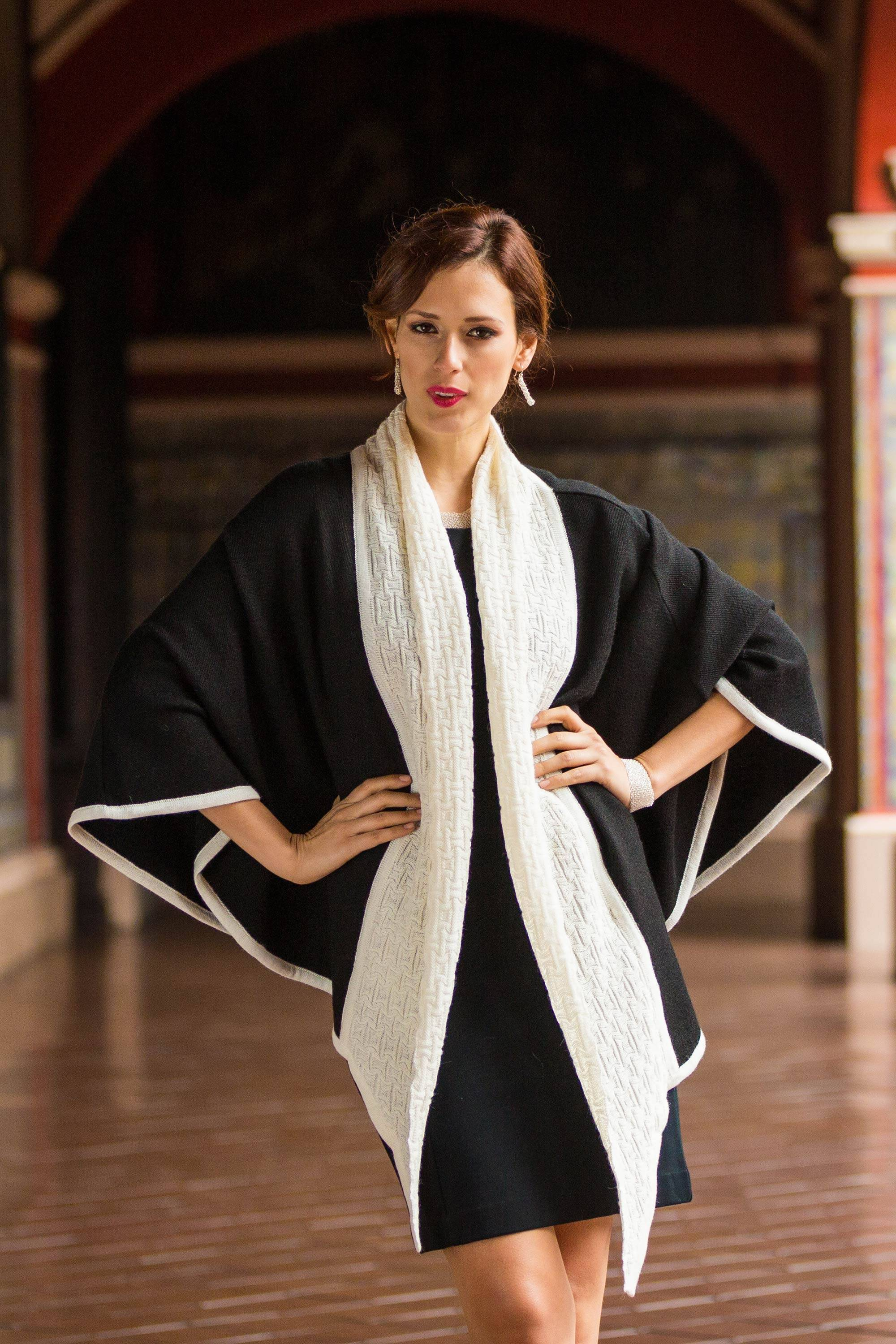Barranco Eclipse Alpaca Wool Black and White Ruana Unusual and Individual Fashion
