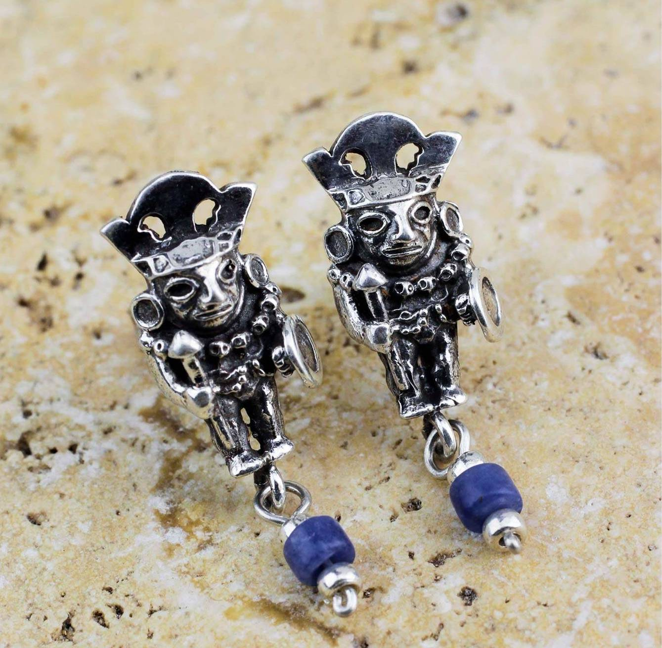 Brave Inca Warrior Artisan Crafted Sodalite and Sterling Silver Earrings