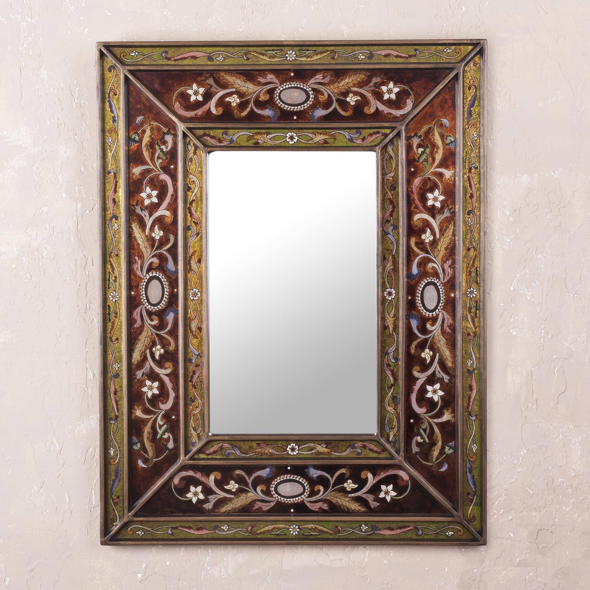 Cajamarca Warmth Rectangular Glass Wall Mirror Reverse Painted from Peru