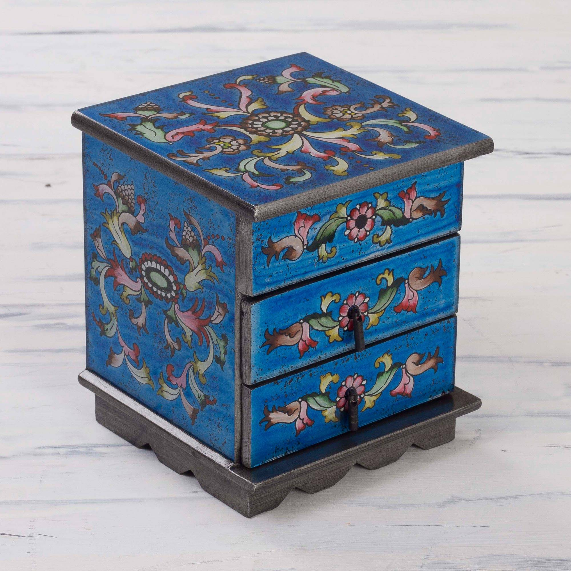 Celestial Blue Reverse Painted Glass Jewelry Box with Mirror
