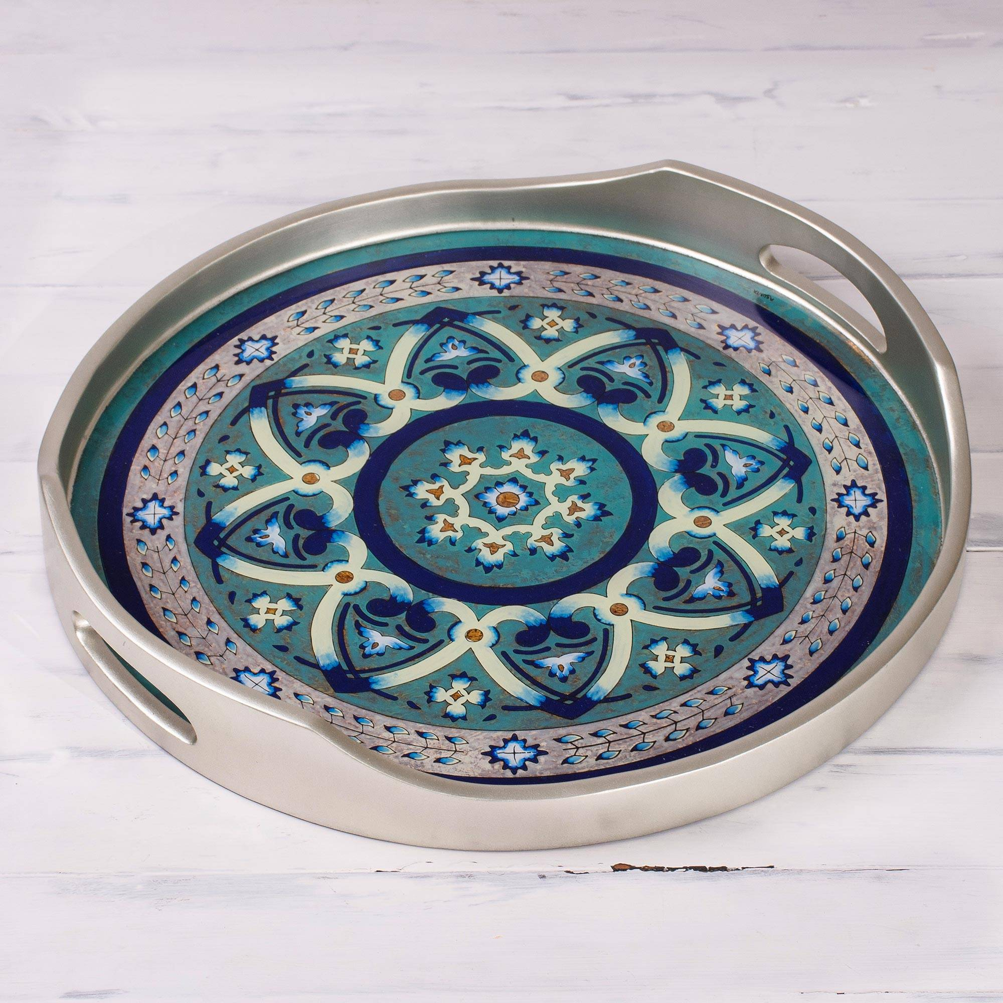 Floral Intricacy in Silver Silver-Tone Reverse-Painted Glass Tray from Peru