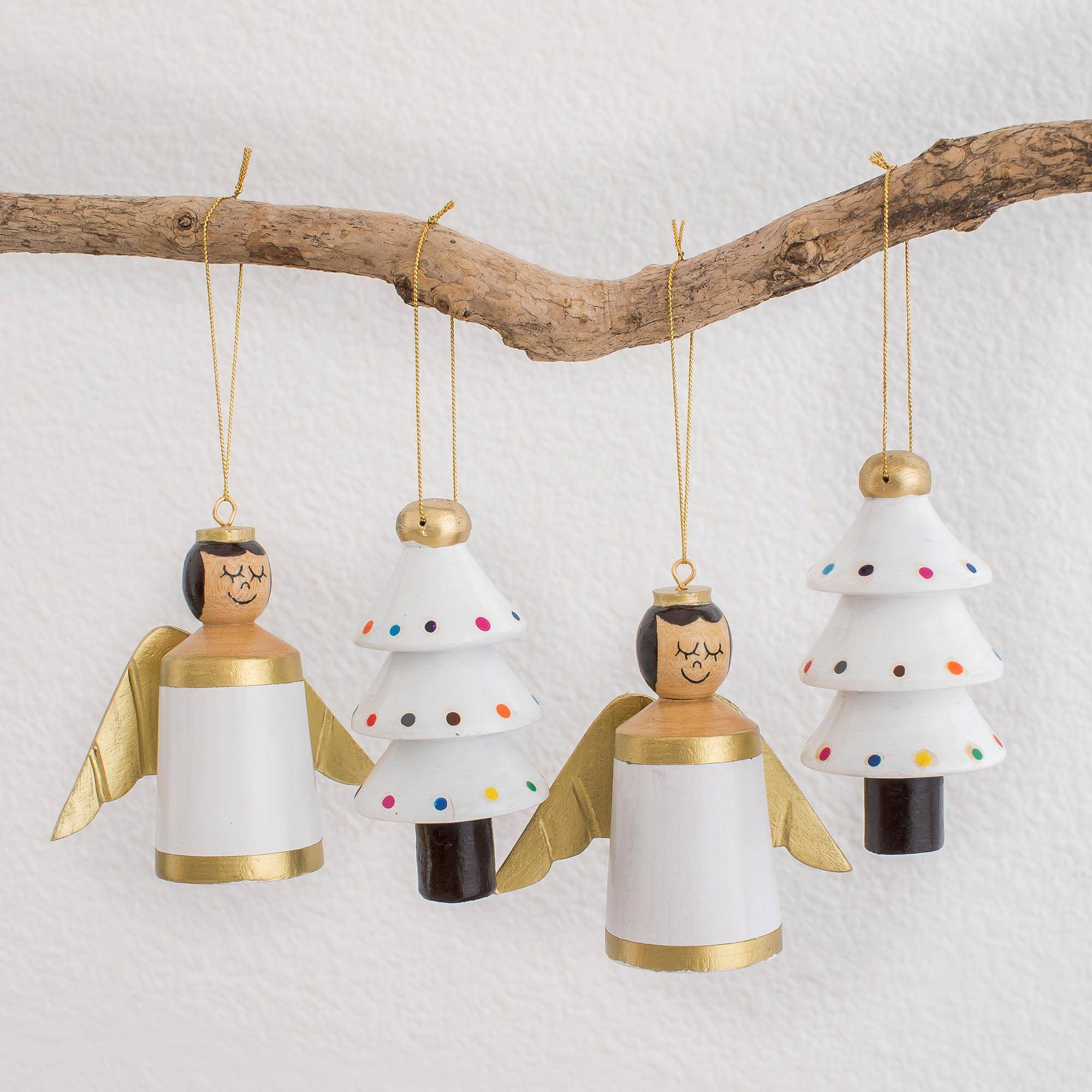 Gilded Christmas in White White Gold Reclaimed Wood Angel Tree Ornaments (Set of 4)