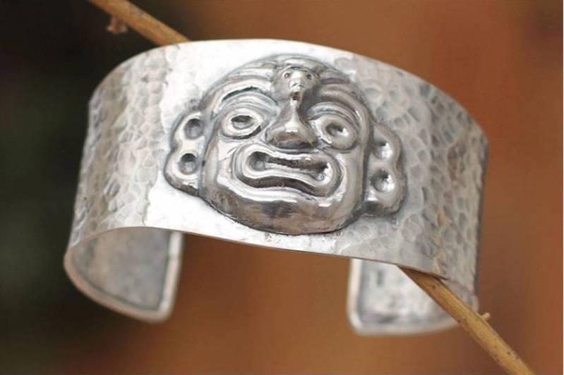Moche God Ai Apaec Sterling silver cuff bracelet