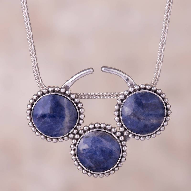 Planetary Trio Circular Sodalite and Silver Pendant Necklace from Peru