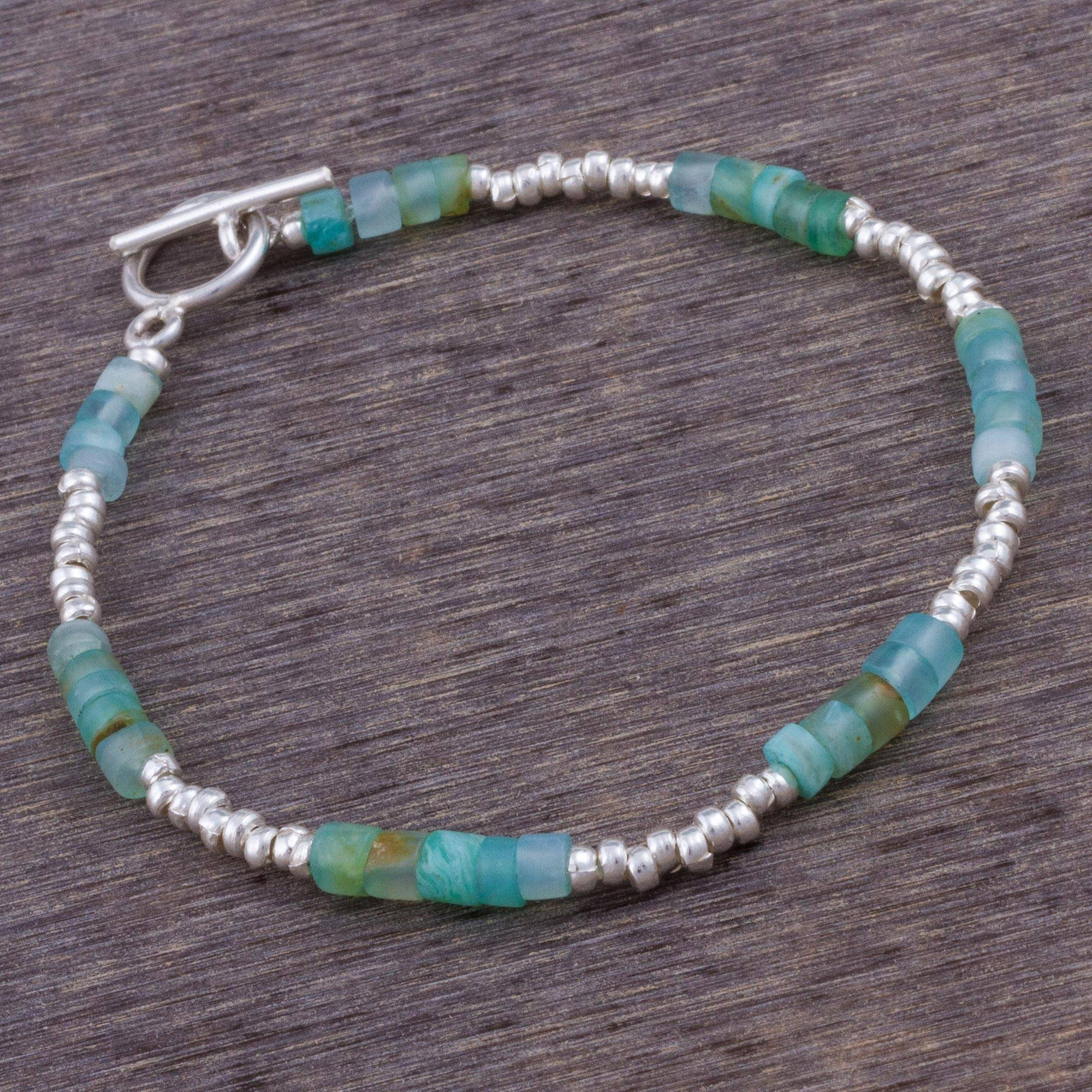 Stylish Teal Opal and Sterling Silver Beaded Bracelet from Peru