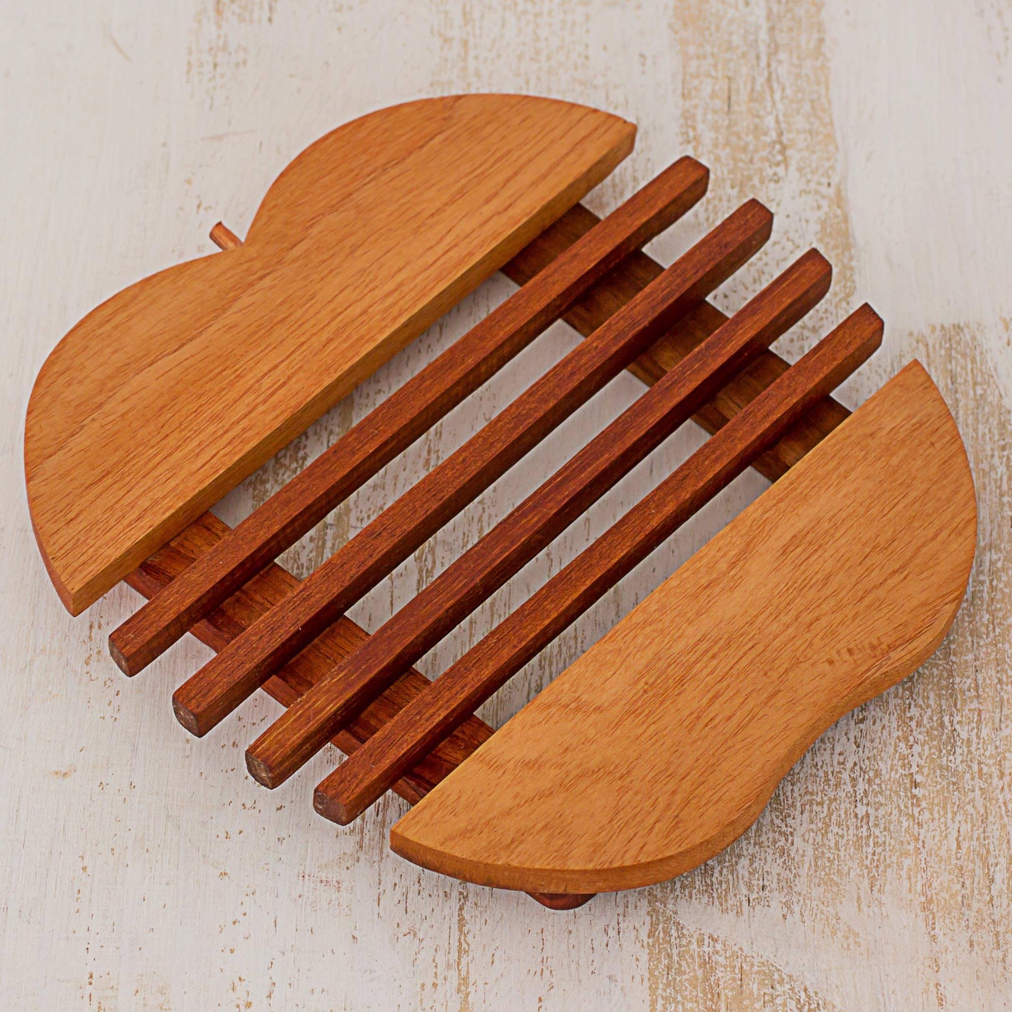 Sweet Apple Cedar Wood Trivet Apple Shape from Guatemala