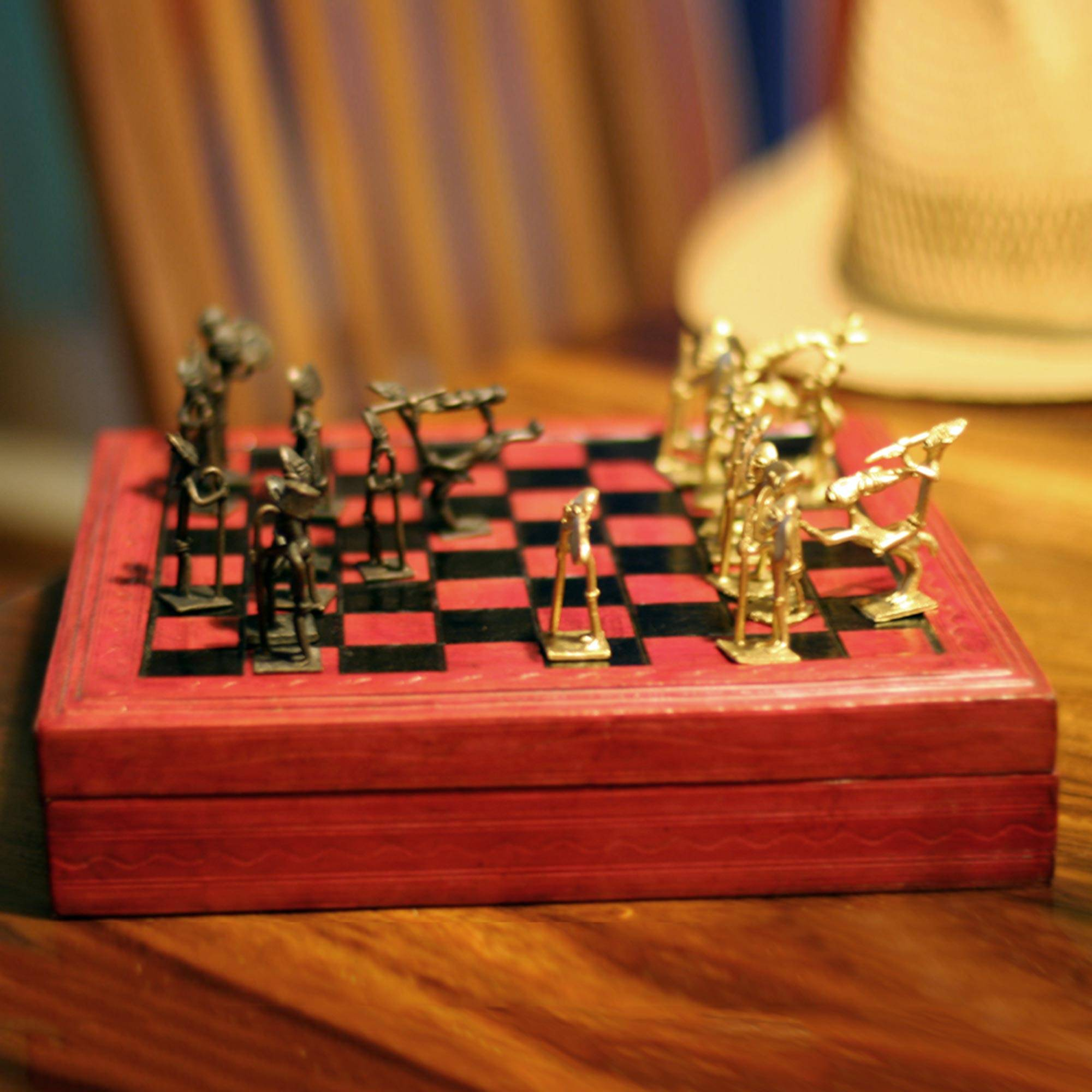 'Tribal Feuds' Handcrafted Wood, Leather and Brass Chess Set made in West Africa