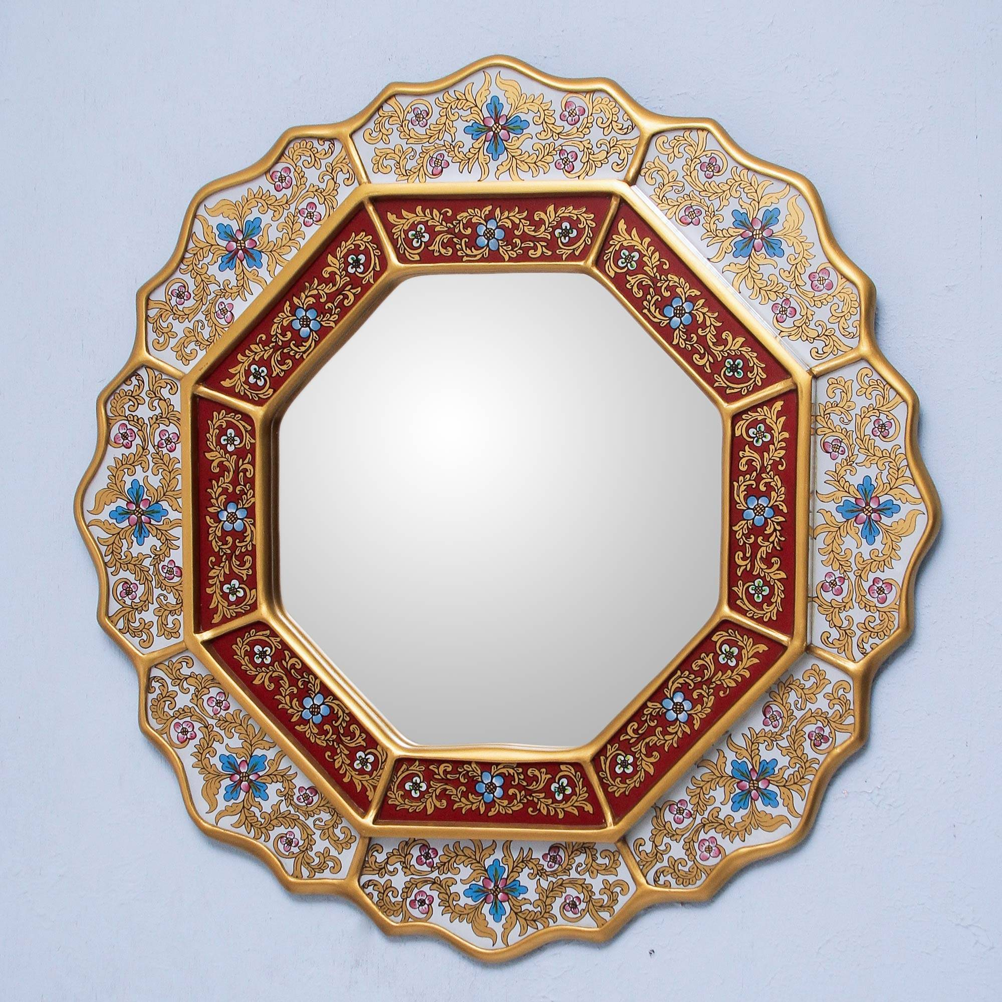 White Star Reverse Painted Glass Wood Mirror from Peru