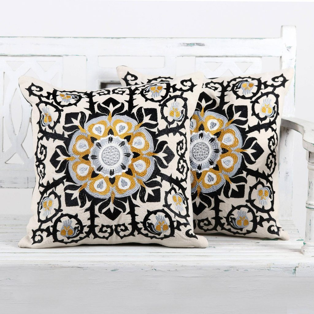 Jaipur Blossom Embroidered Cotton Ecru Cushion Covers from India (Pair) Mixing Eclectic Home Decor from around the world
