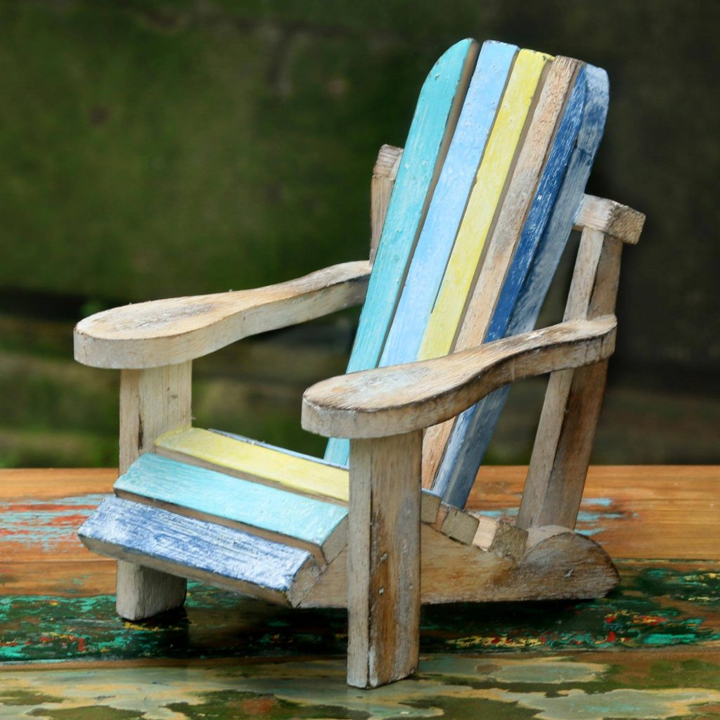 Beach Chair Hand Carved Beach Chair Wood Statue from Indonesia Mixing Eclectic Home Decor from Around the World
