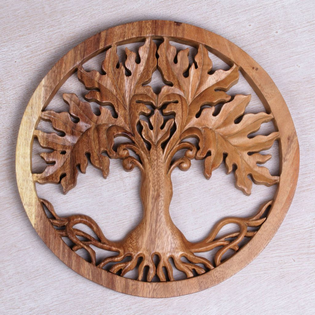 Fertility Tree Hand Crafted Suar Wood Tree Wall Relief Pandel from Bali Mixing Eclectic Home Decor From Around the World