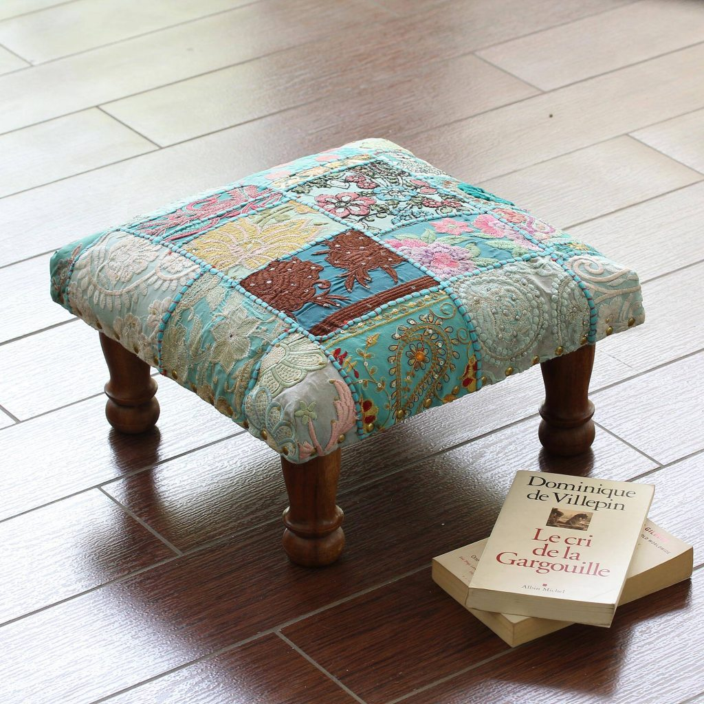 Paisley Patch Fair Trade Embellished Ottoman Foot Stool from India Mixing Eclectic Home Decor from around the world