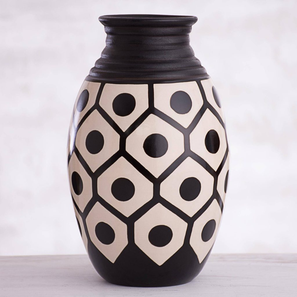 Geometric Chulucanas Ceramic Decorative Vase from Peru Mixing Eclectic Home Decor from Around the World
