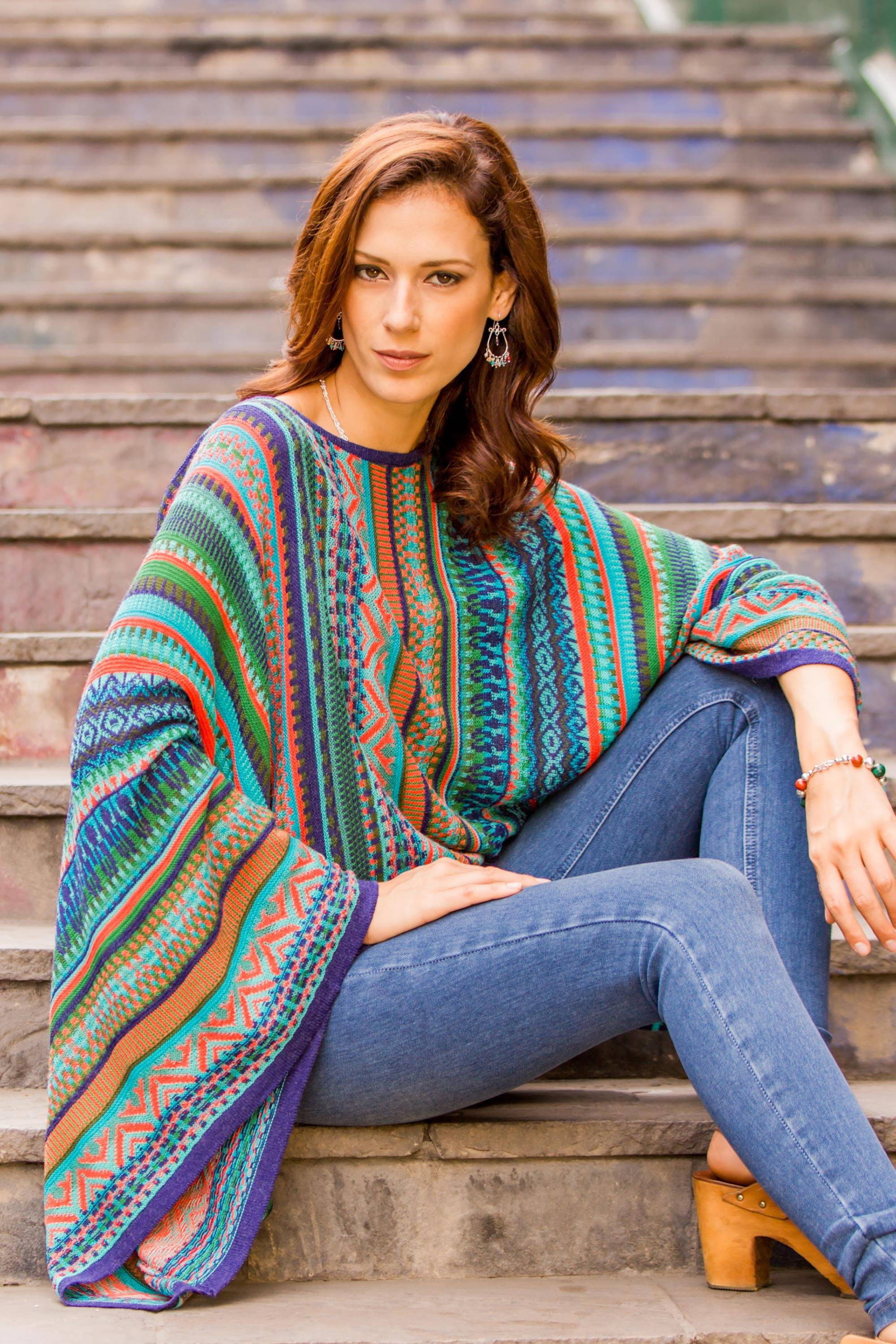 Lima Dance Bohemian Knit Sweater from Peru in Turquoise Stripes Perfect Fall Sweaters
