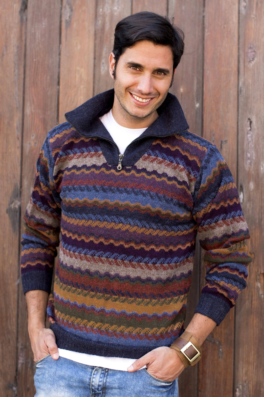 Mountain Life Men's 100% Alpaca Wool Striped Zip Collar Pullover Sweater Perfect Fall Sweaters