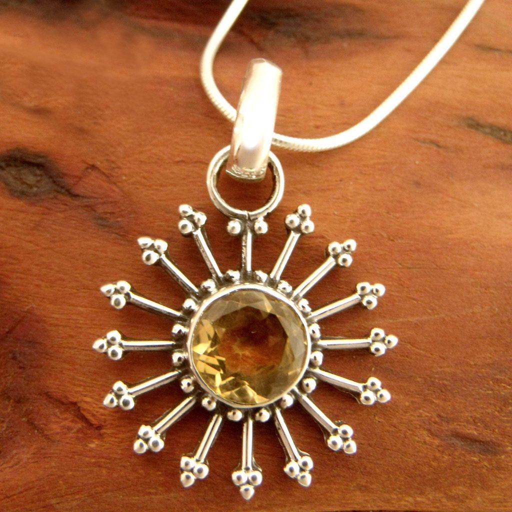 Sunshine Daze Fair Trade Citrine Sun Necklace in Sterling Silver Citrine and Topaz November Birthstones