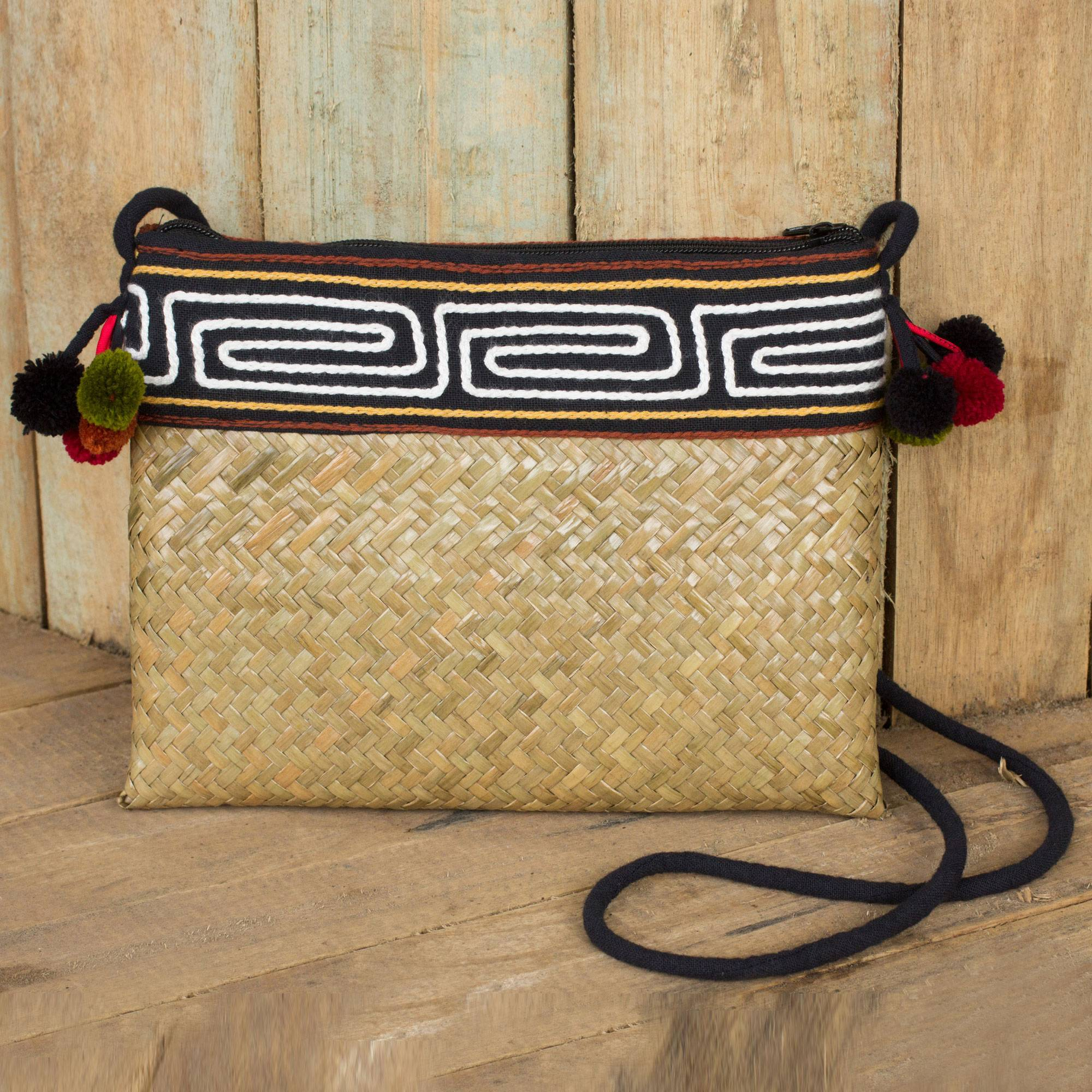 Akha Wonder Hand Woven Natural Fiber Shoulder Bag with Thai Pompoms