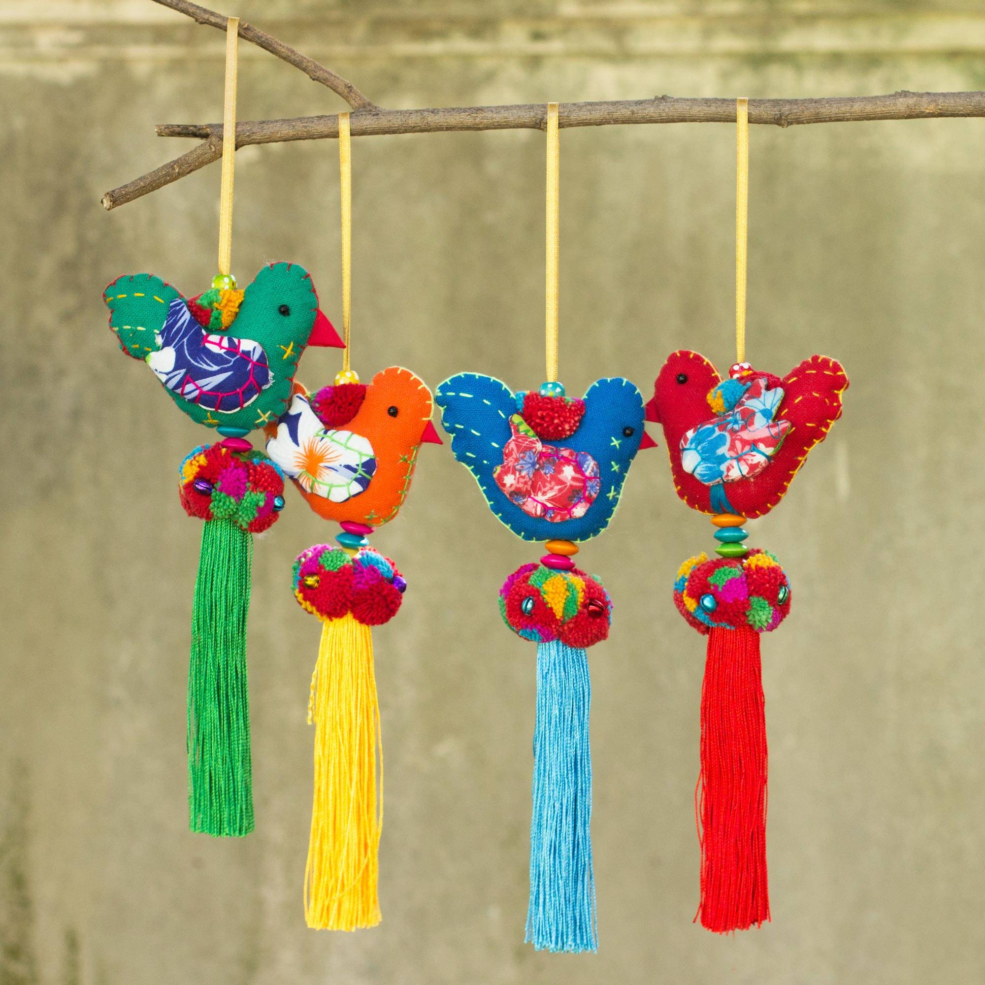 Happy Thai Doves 4 Birds and Brass Bells Artisan Crafted Multicolor Ornaments