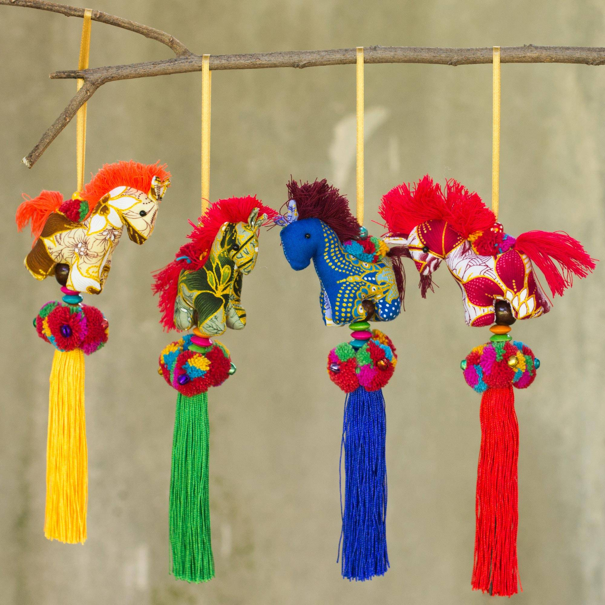 Happy Thai Horses Artisan Crafted Multicolor Thai Cotton Horse Ornaments