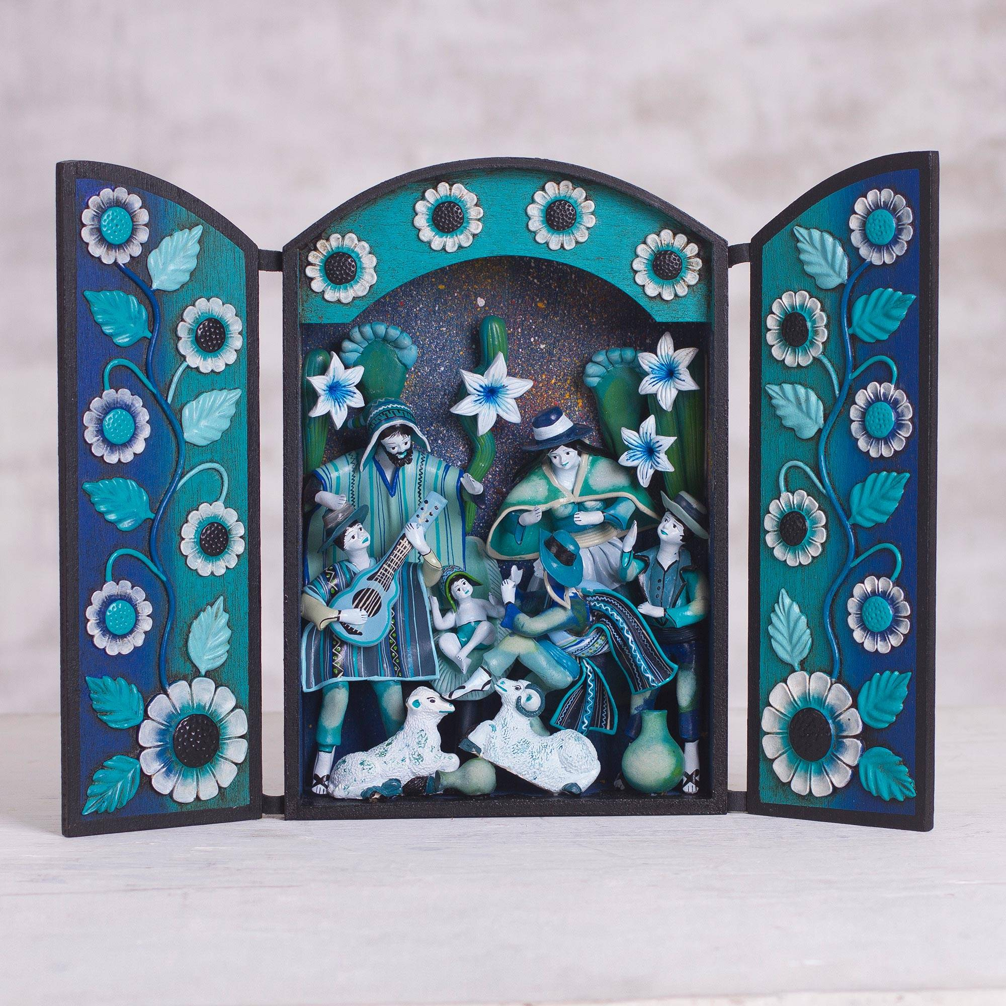 Joyous Night Blue Wood and Plaster Andean Nativity Retablo with Musicians