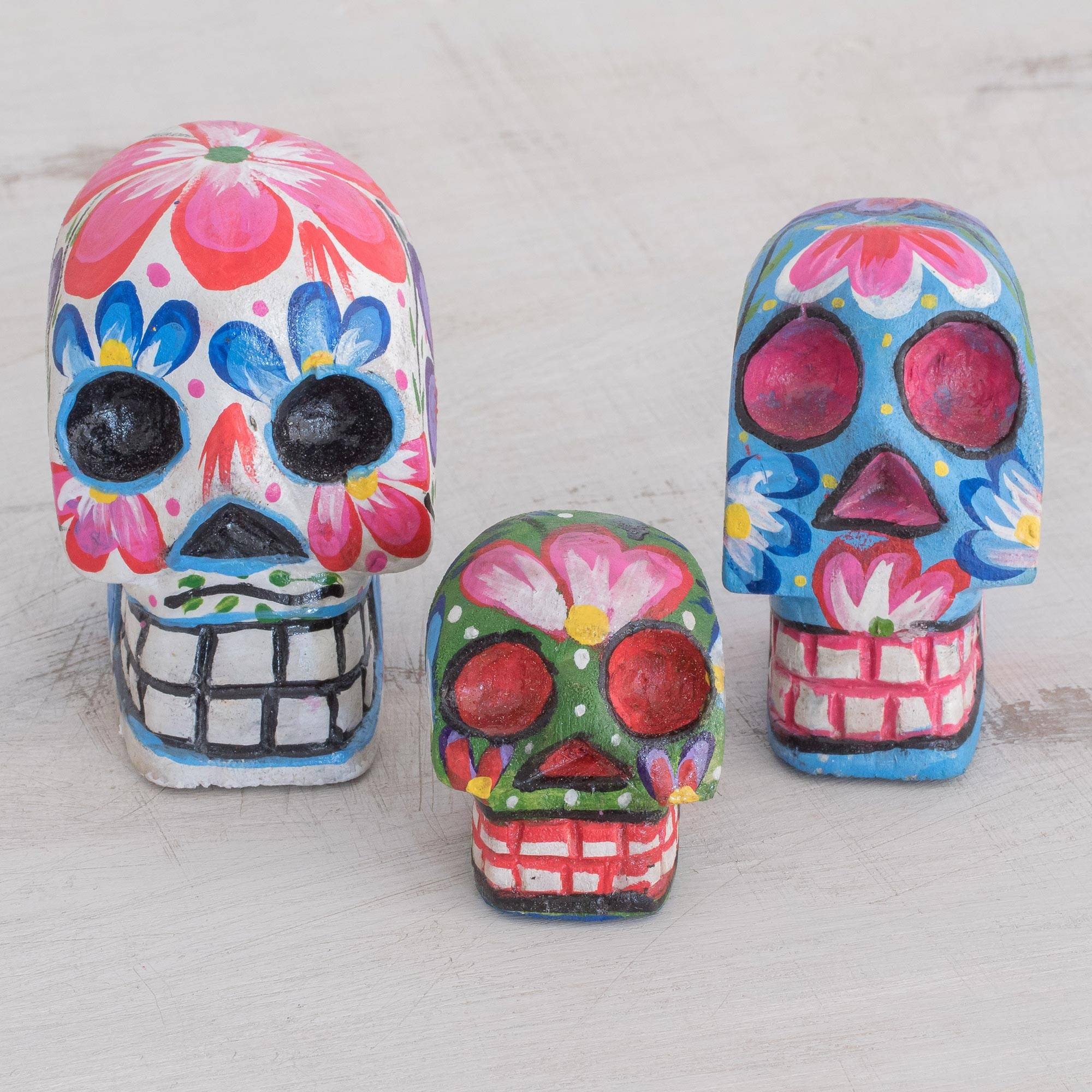 Life and Color Wood Floral Skull Figurines from Guatemala (Set of 3)