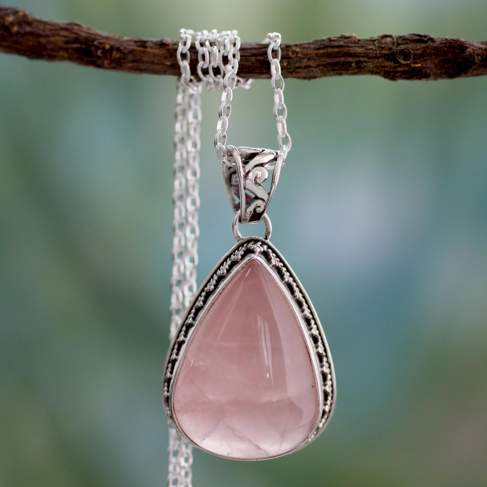 Love Drop Rose Quartz and Sterling Silver Necklace Indian Jewelry matching accessories