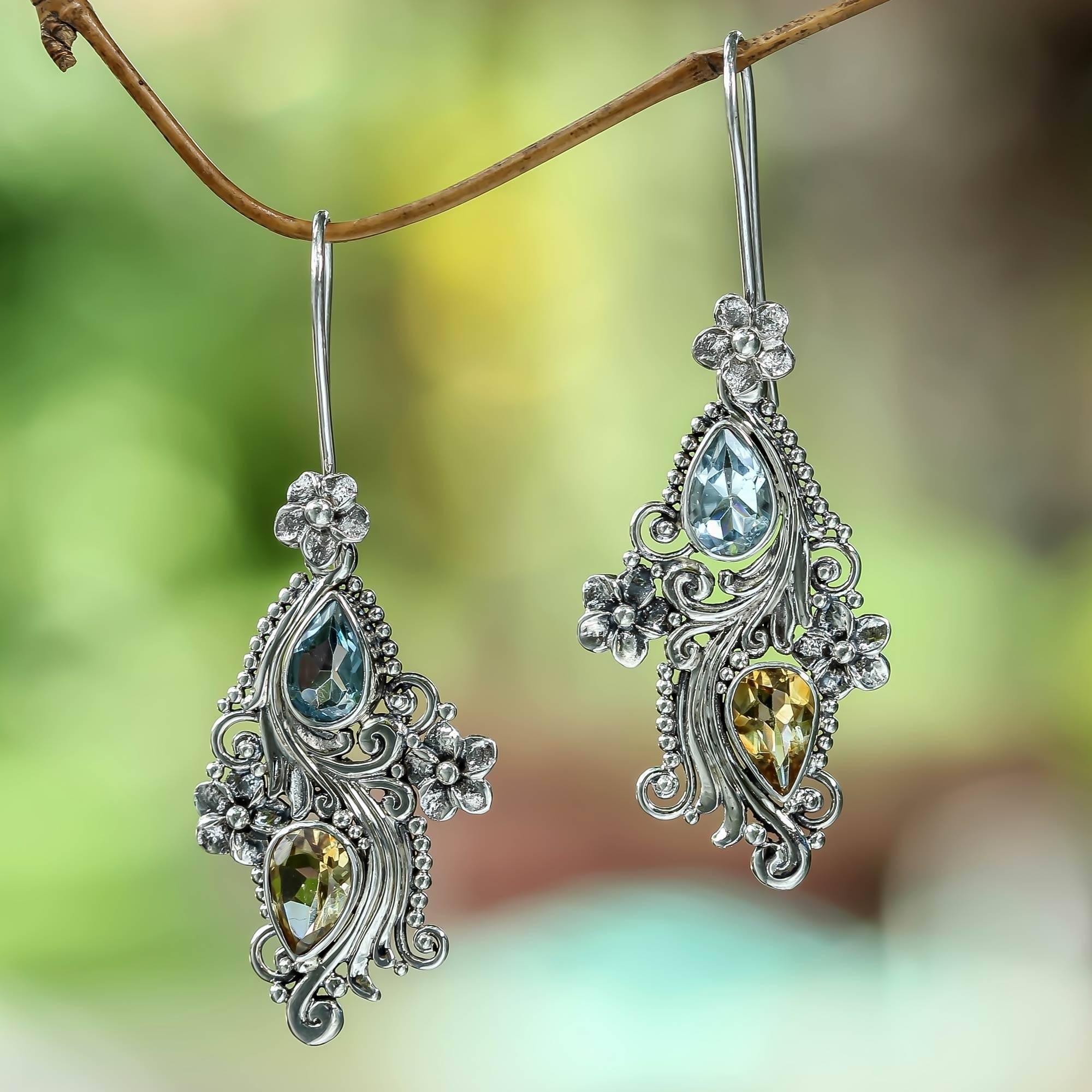 Plumeria Dew Balinese Citrine and Blue Topaz Earrings