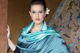 Shimmering Green Artisan Crafted Silk Shawl