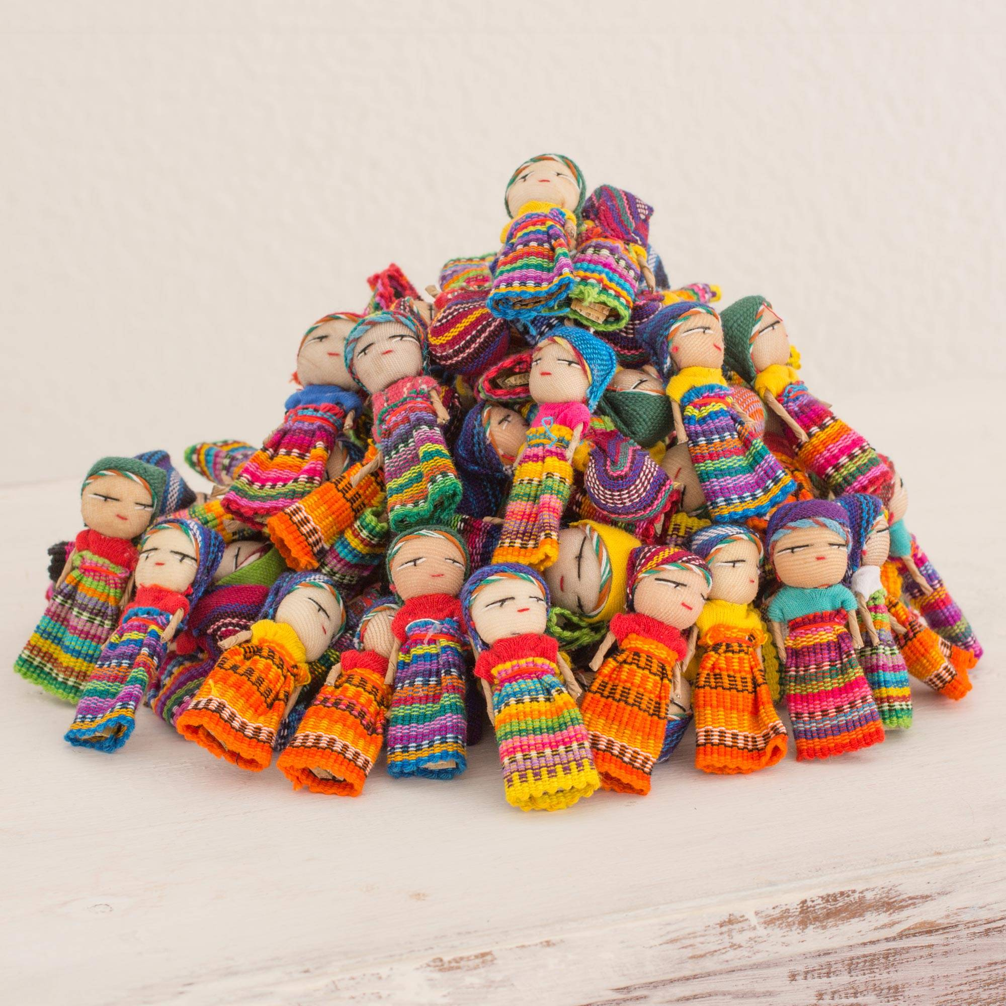 The Worry Doll Clan Set of 100 Guatemalan Worry Dolls with Pouch in 100% Cotton