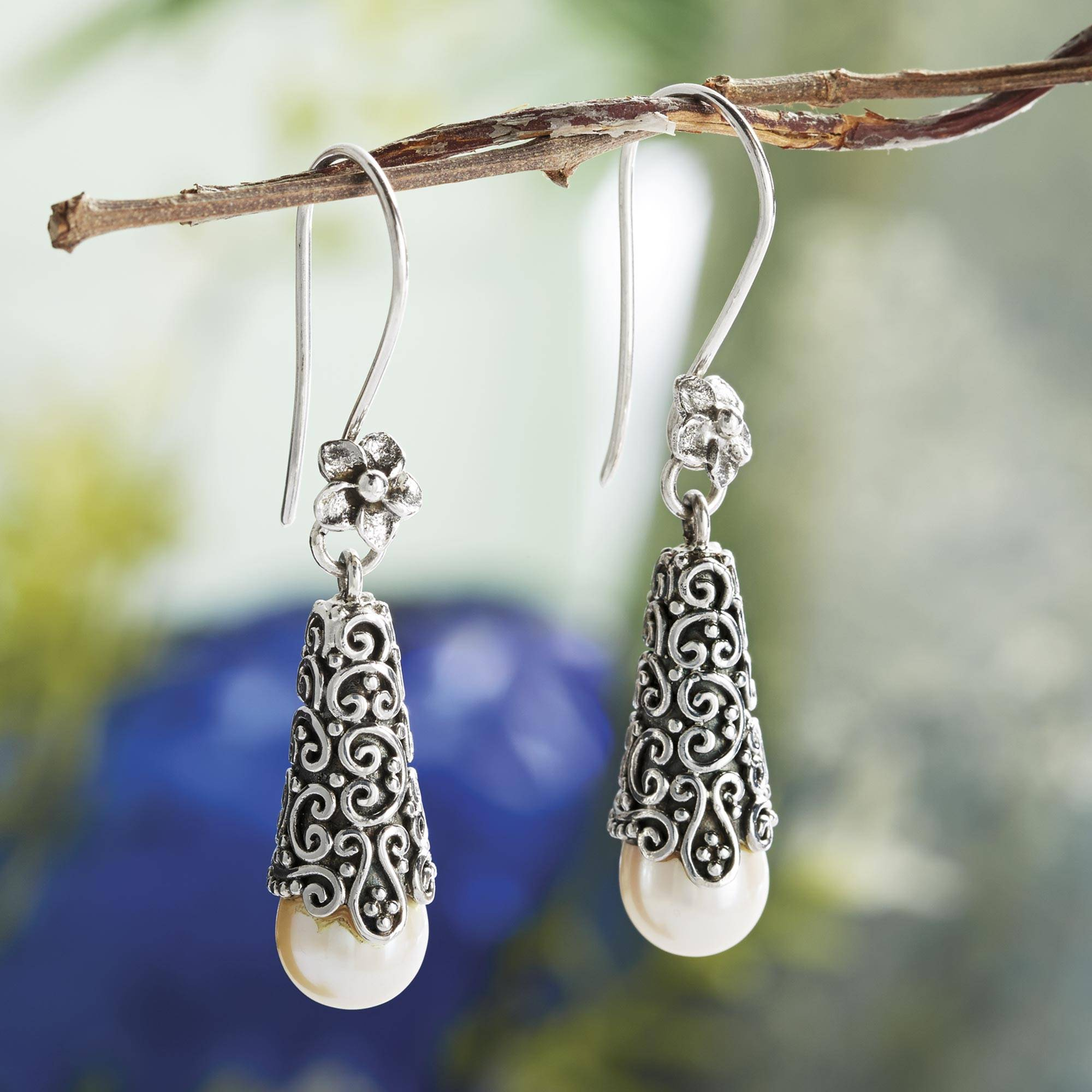 White Arabesque Dewdrop Sterling Silver and Cultured Pearl Dangle Earrings Matching Accessories