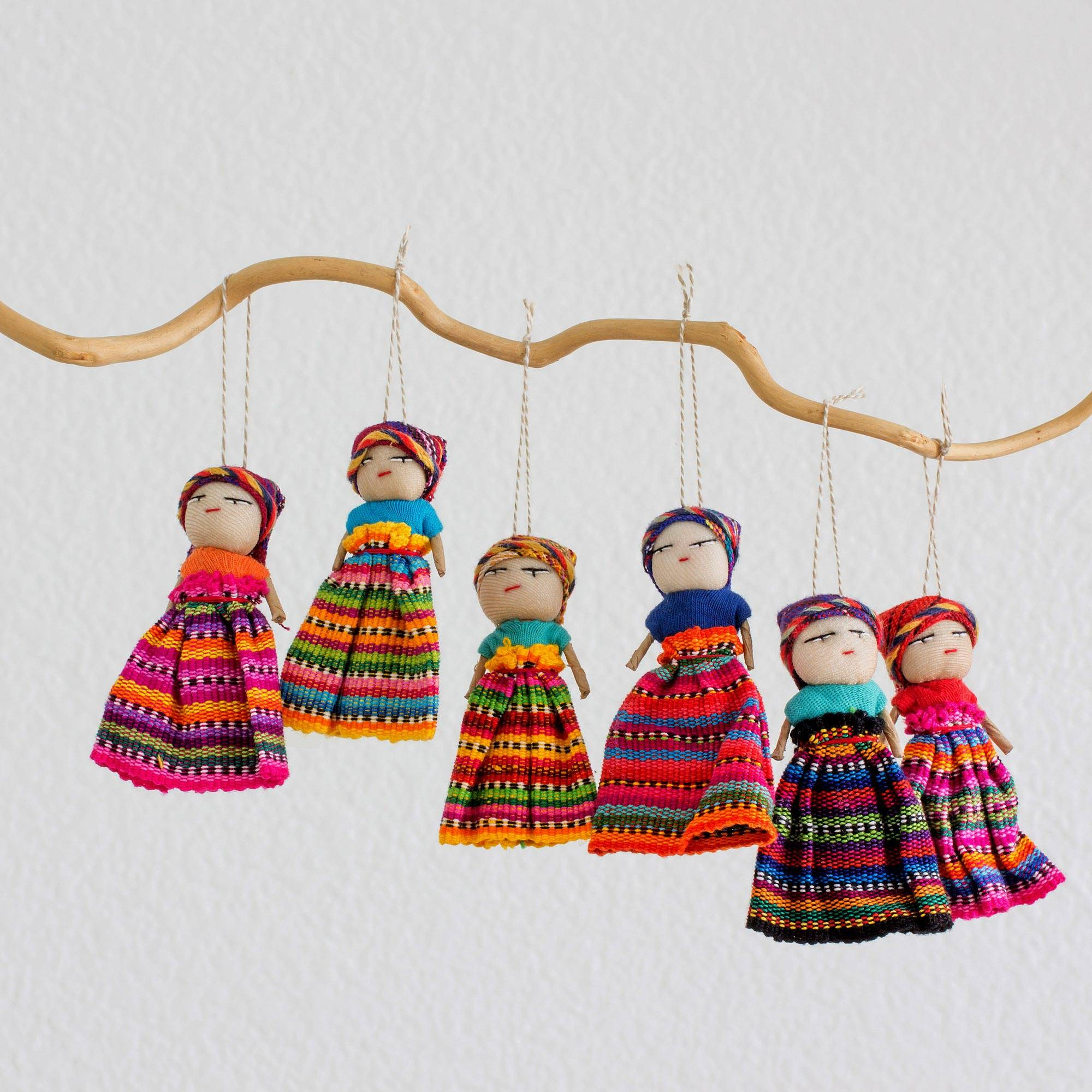 Worry Dolls Share the Love Set of 6 Guatemalan Worry Doll Ornaments Crafted by Hand