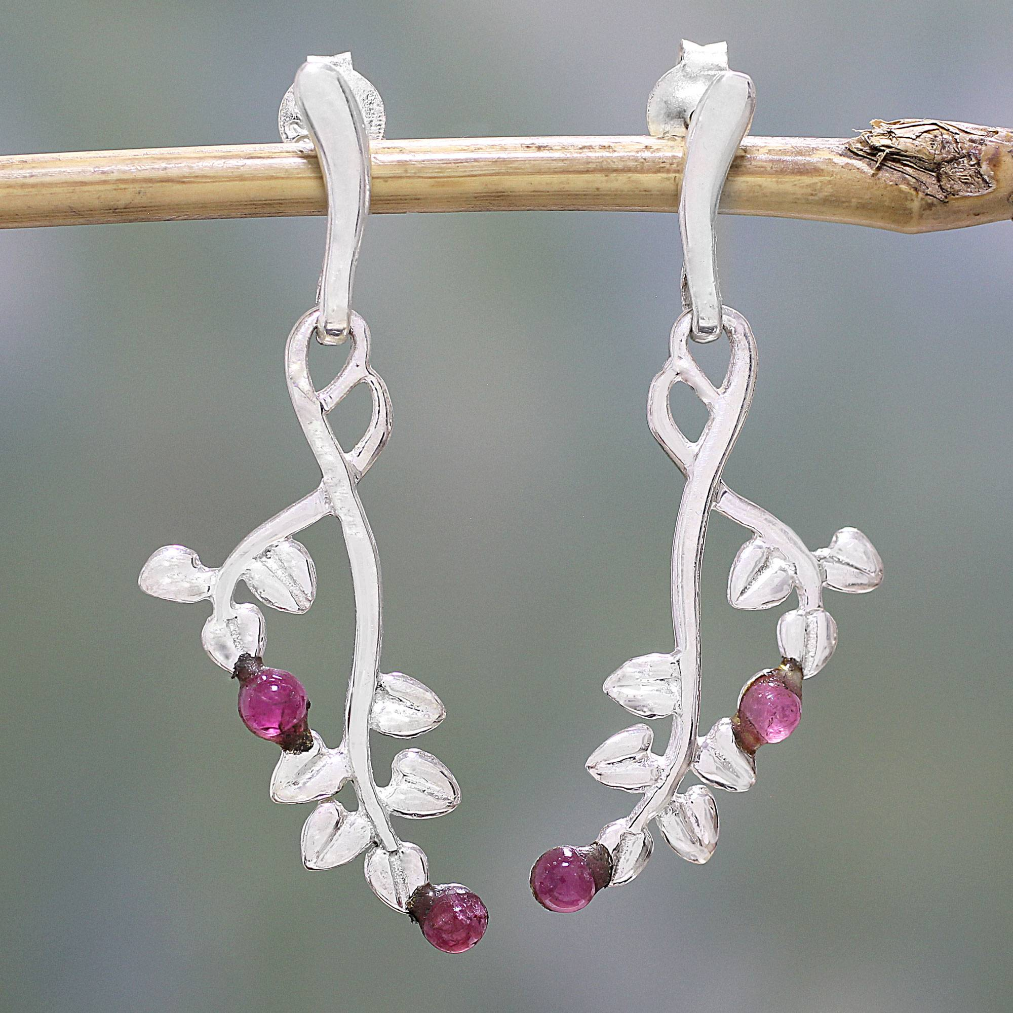 Pink Cherries Tourmaline and Sterling Silver Leaf Earrings from India Tourmaline, The Unknown October Birthstone