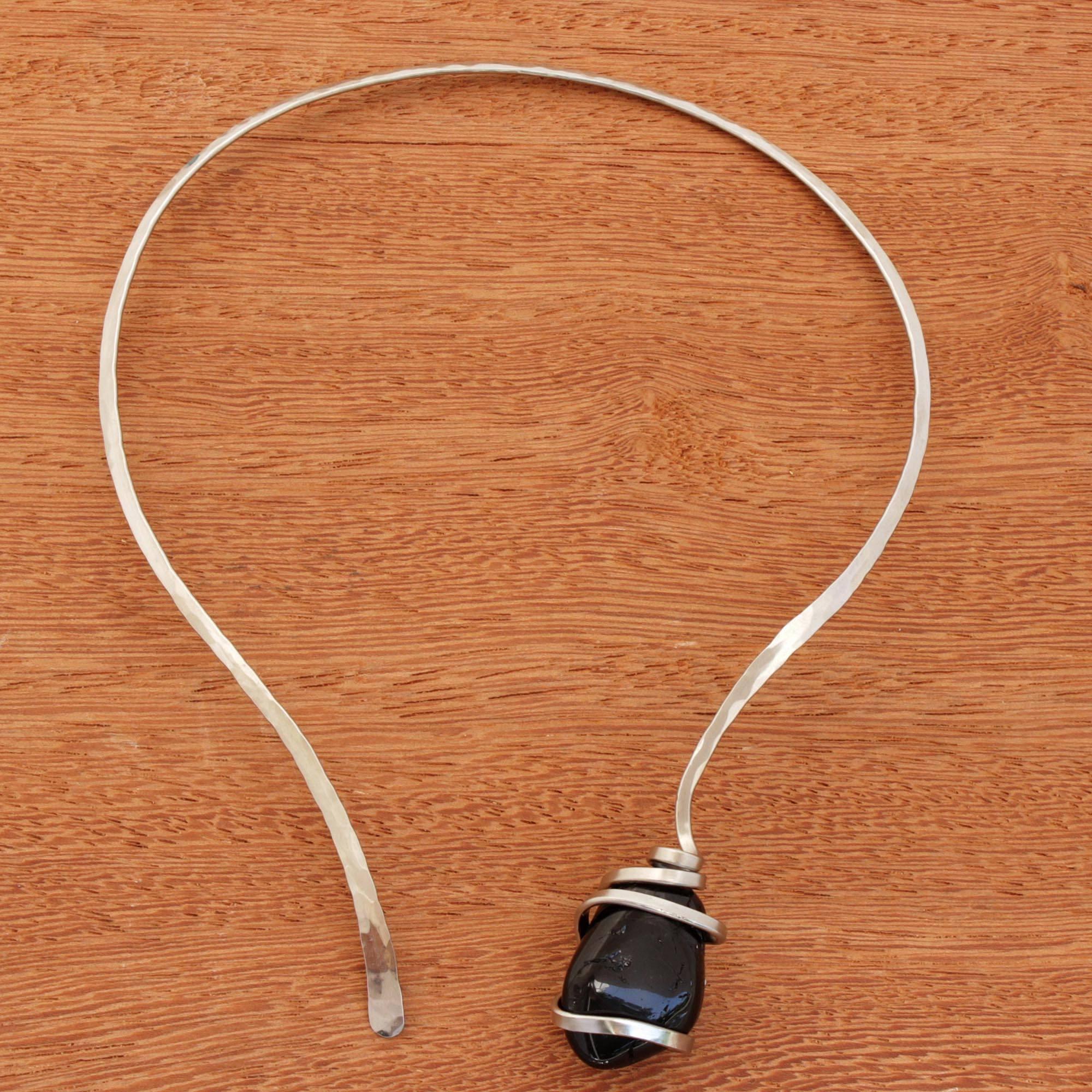 Tourmaline collar necklace, 'Midnight Sky's Magnitude' Tourmaline, The Unknown October Birthstone