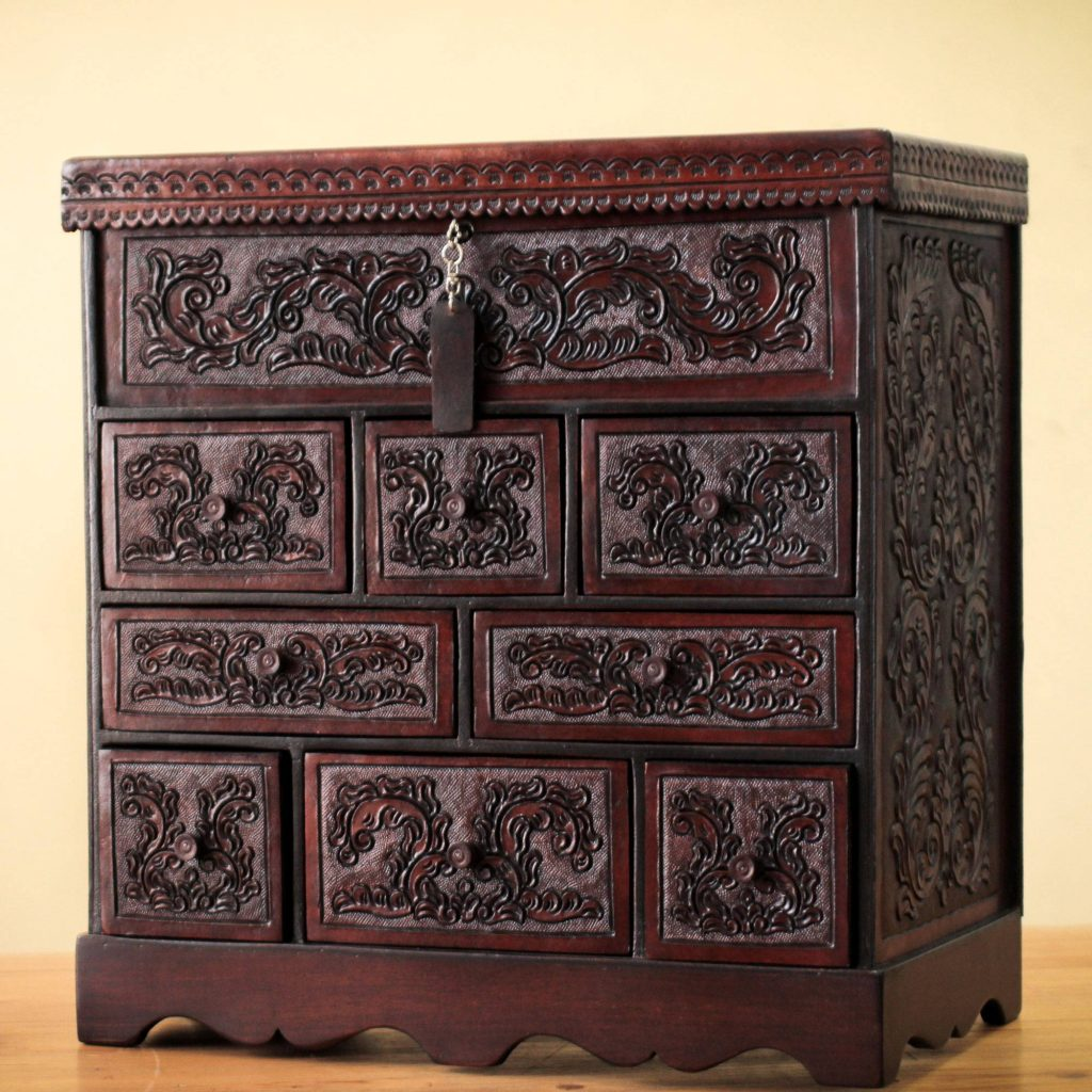 Travel Chest Tooled Leather Jewelry Box Handmade in Peru quinceanera and sweet 16 gifts