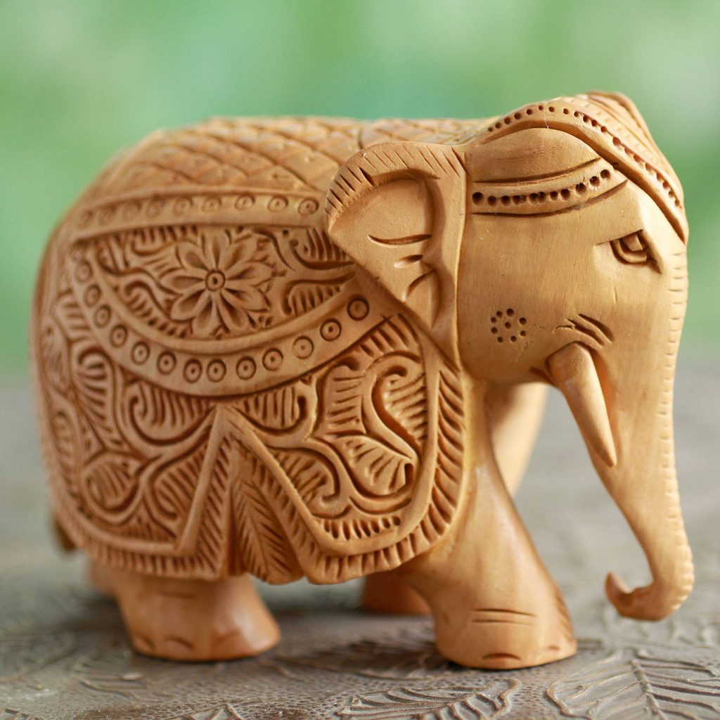 Majestic Elephant Wood Elephant Sculpture Hand Carved in India quinceanera and sweet 16 gifts