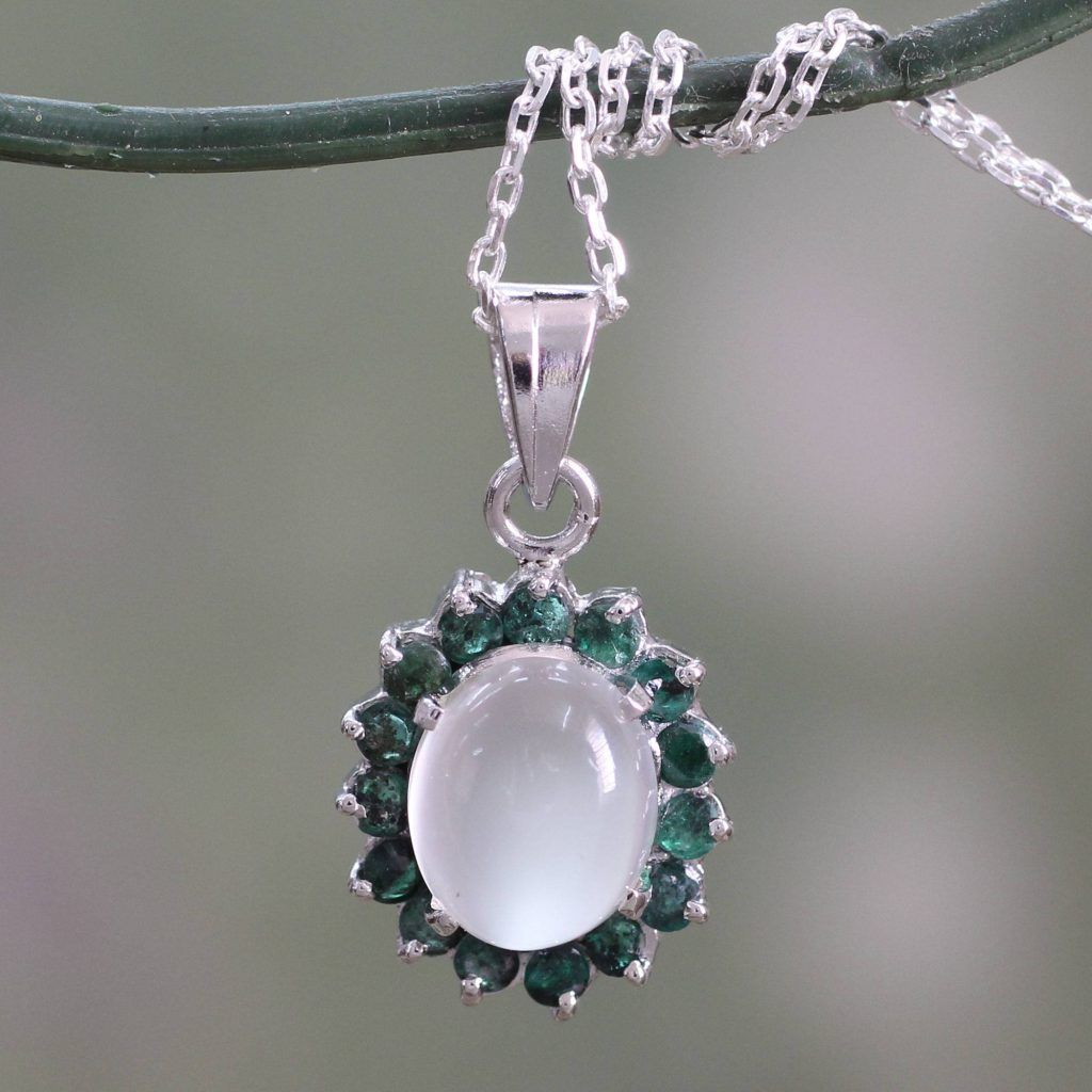 Love and Devotion Sterling Silver Necklace with Emerald and Moonstone quinceanera and sweet 16 gifts