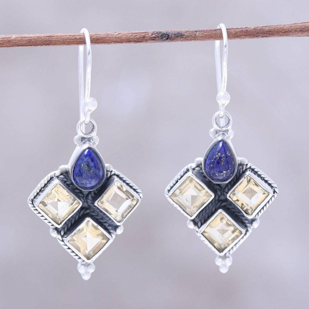 Golden Ocean Citrine and Lapis Lazuli Dangle Earrings Handmade in India Citrine and Topaz November Birthstones