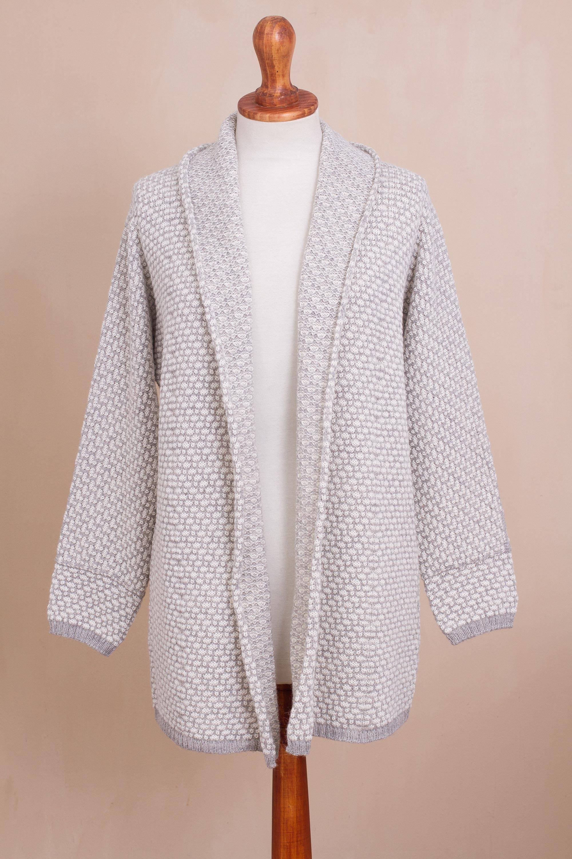 Dove Down Off-White and Grey Alpaca Blend Relaxed Fit Cardigan Sweater Perfect Fall Sweaters