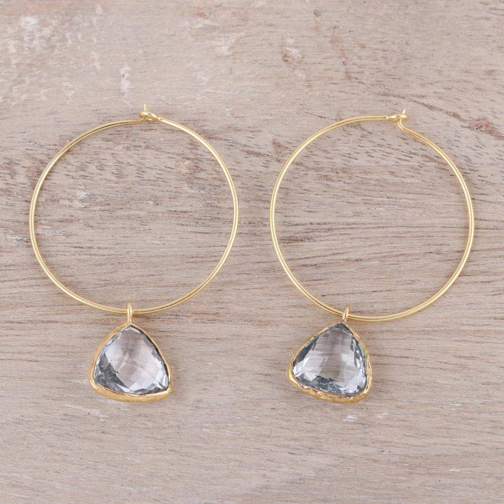 Elegant Embrace 18k Gold Plated White Topaz Hoop Dangle Earrings from India Topaz & Citrine November Birthstones