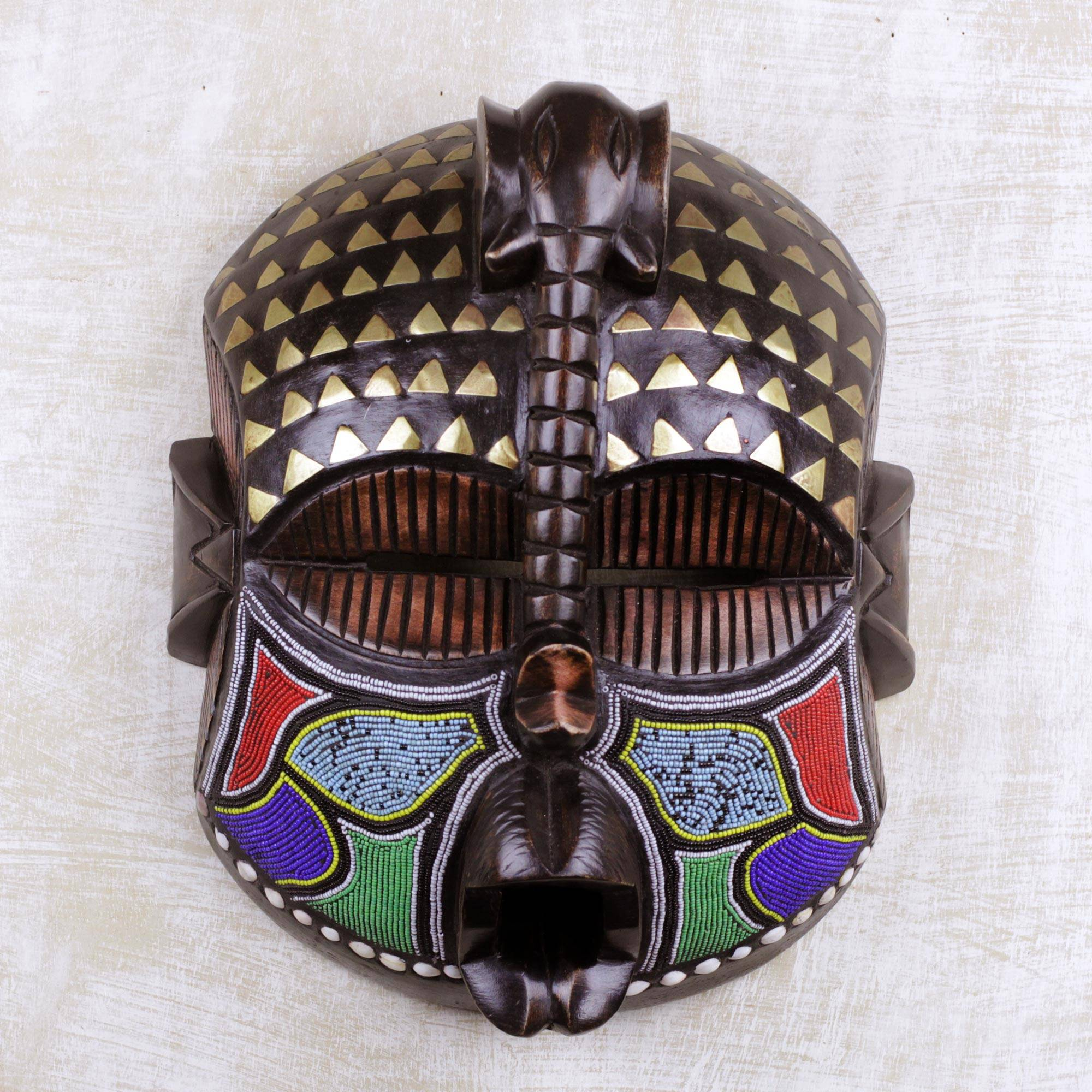 Akyiglinyi Elephant Themed Wood Mask with Brass and Glass Beads