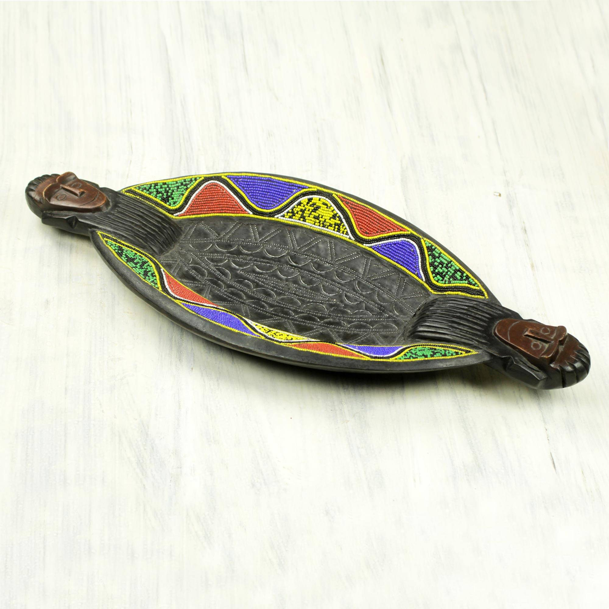 Cape Coast Waves Colorful African Beaded Wood Decorative Tray