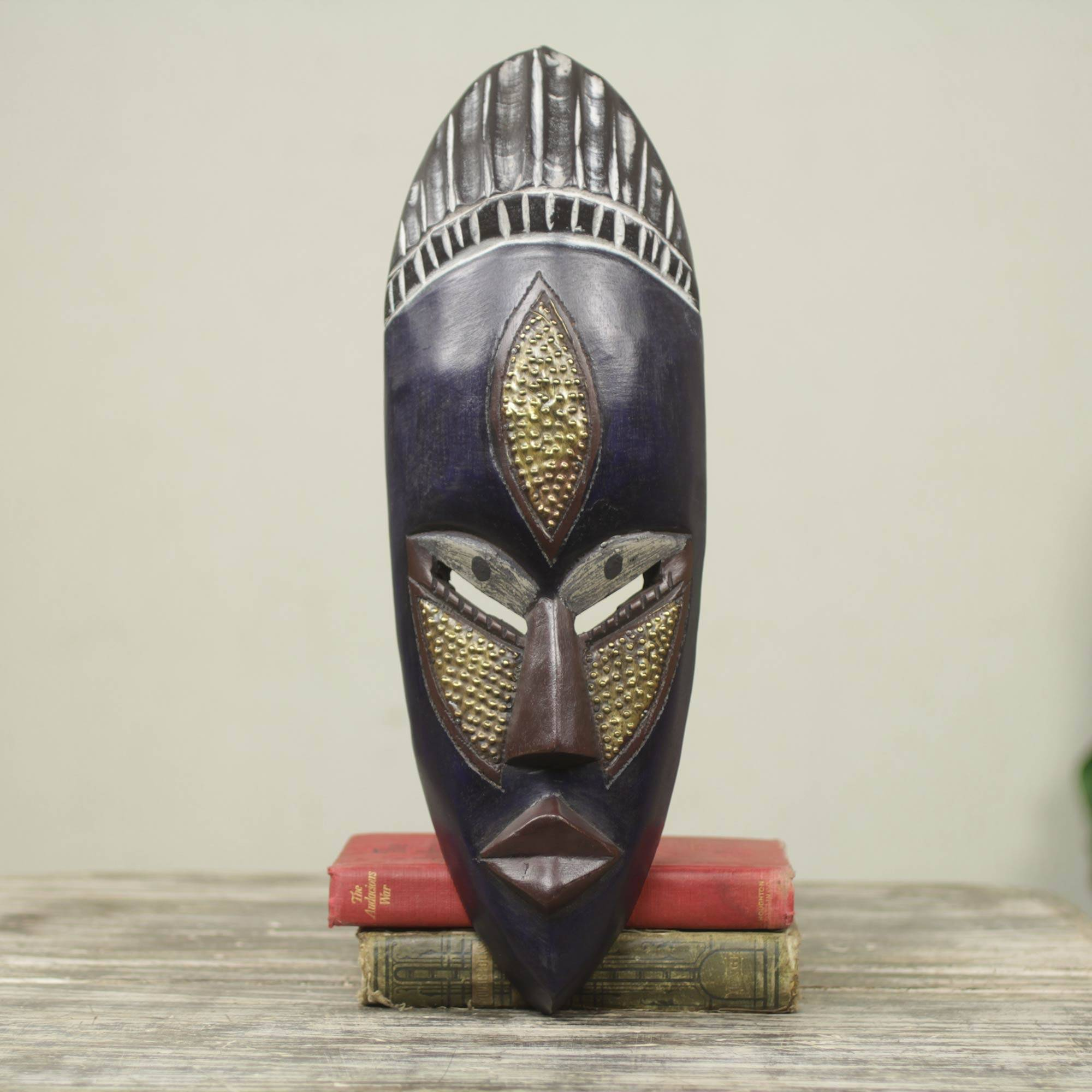 'Densu Priest' African Wood and Embossed Brass Mask by Awudu Saaed