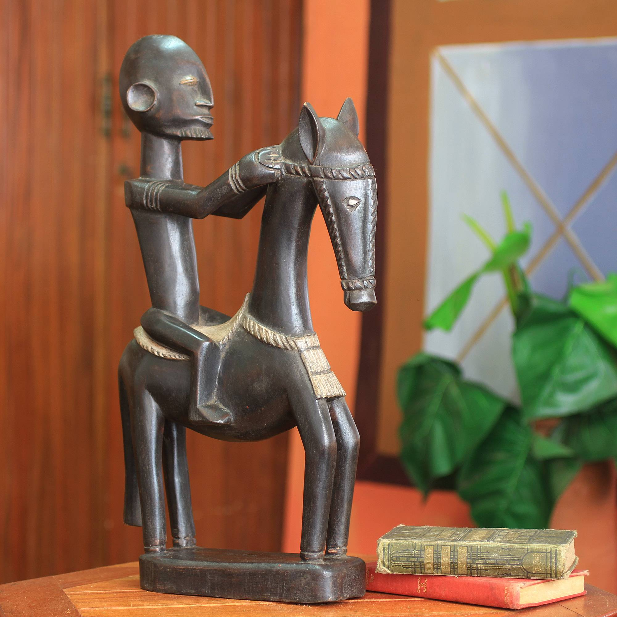 Dogon Man on Horseback Wood Figurine