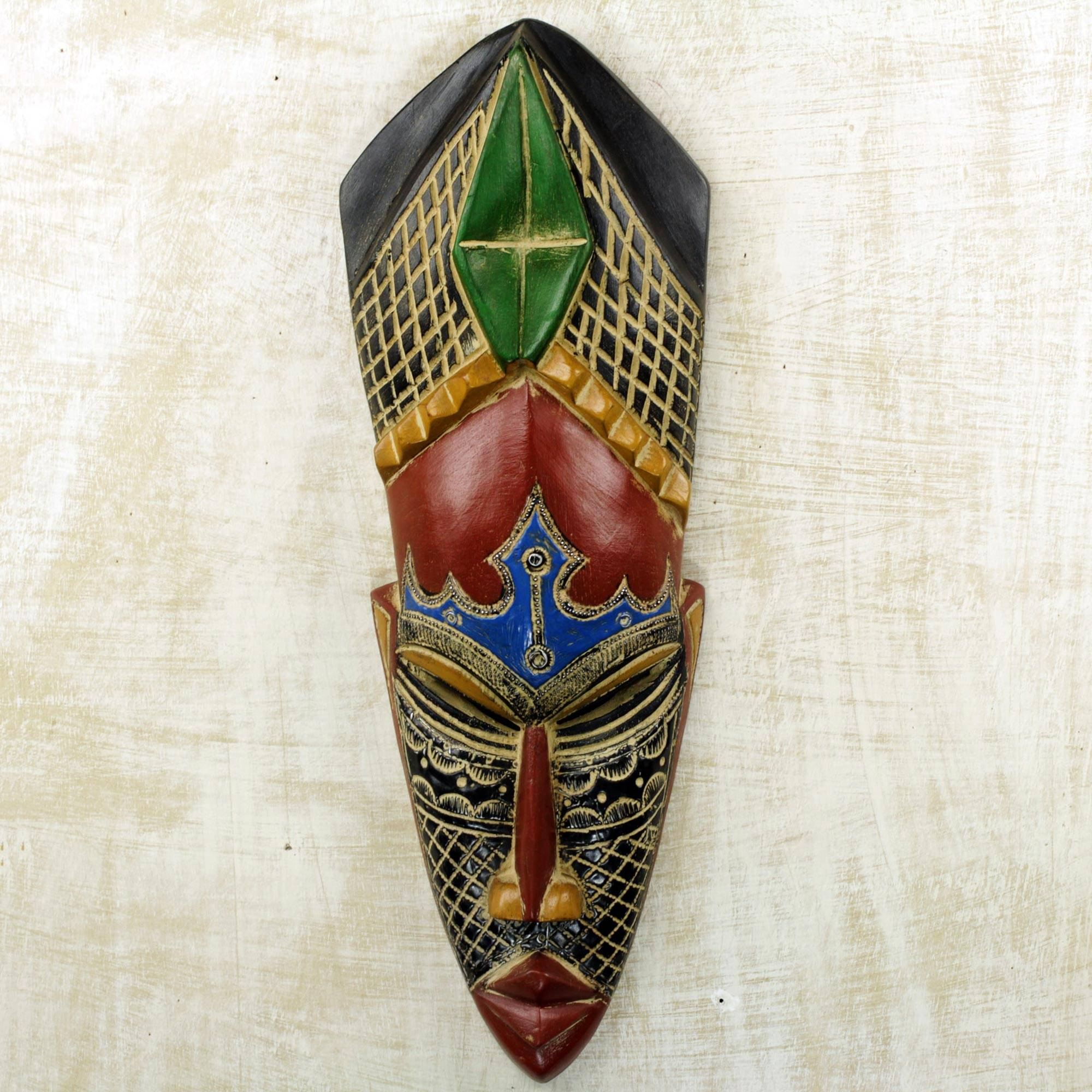 Gratitude Hand Carved African Rubberwood Mask from Ghana